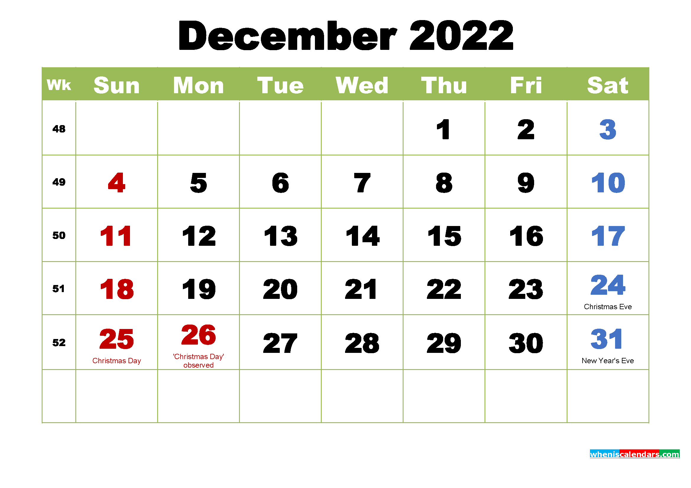 Free December 2022 Printable Calendar with Holidays