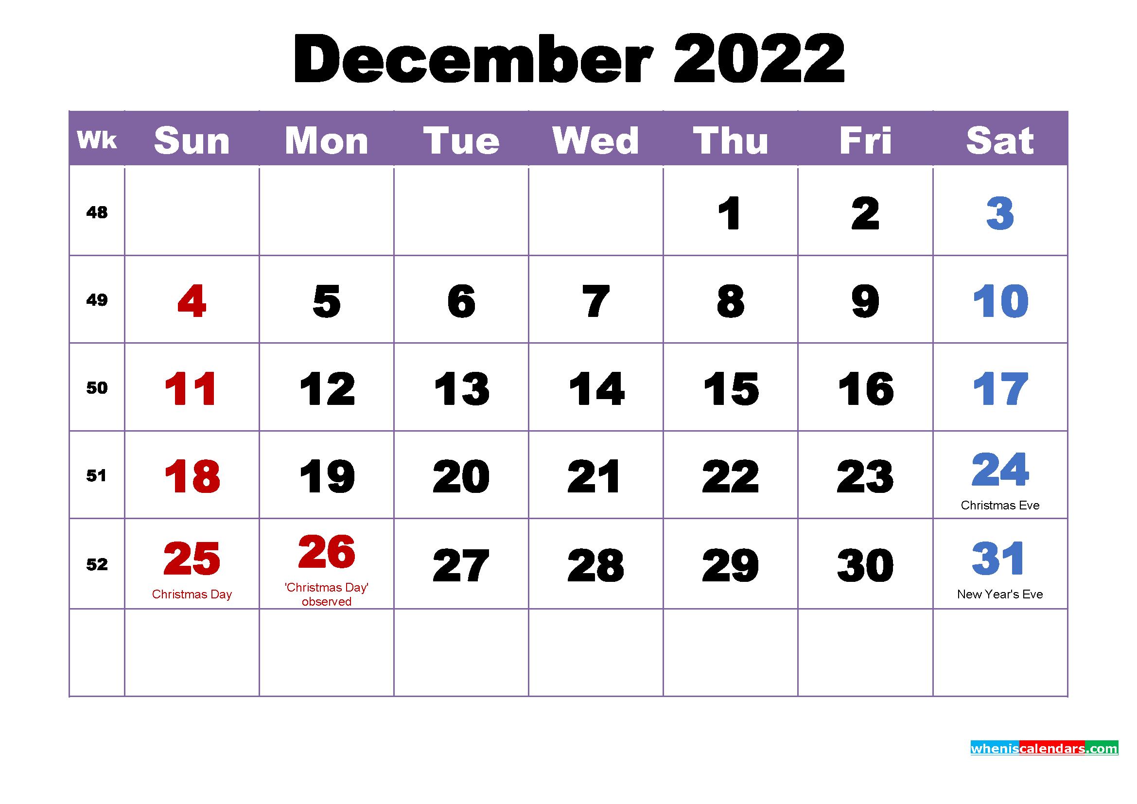Free Printable December 2022 Calendar Wallpaper