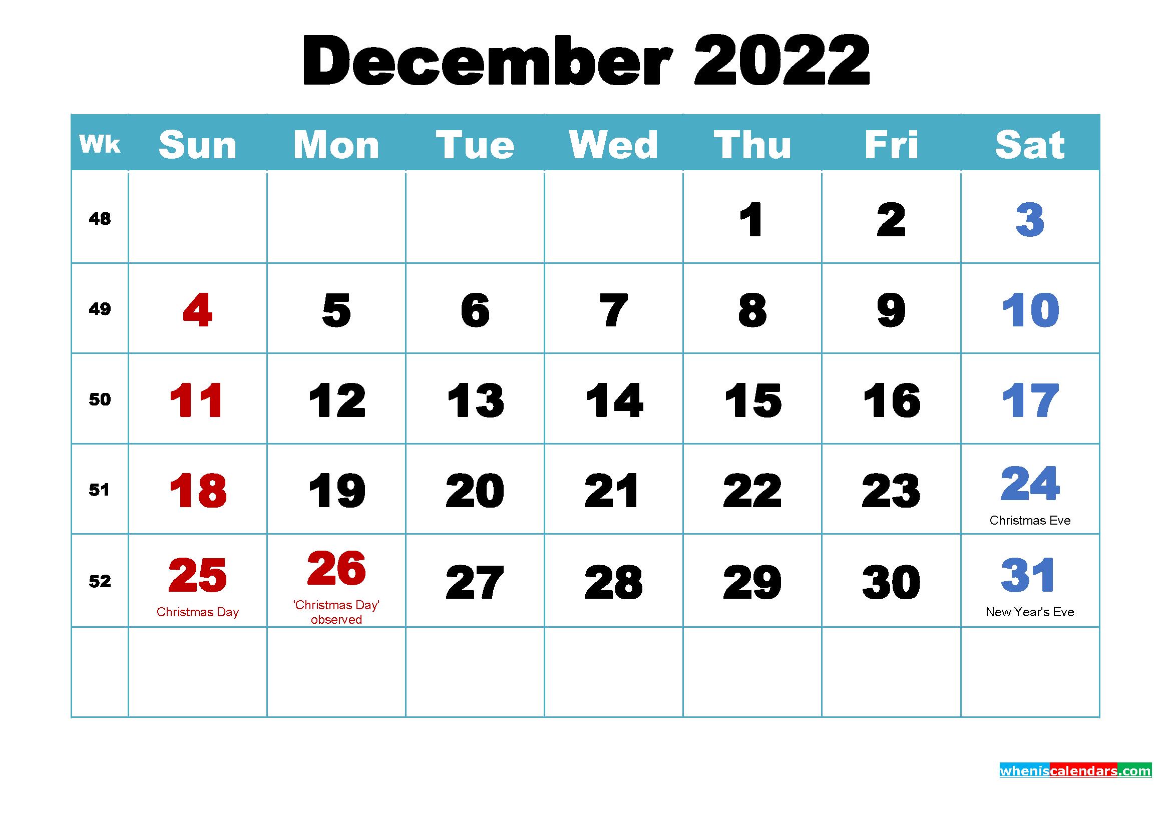 Free December 2022 Desktop Calendar High Resolution