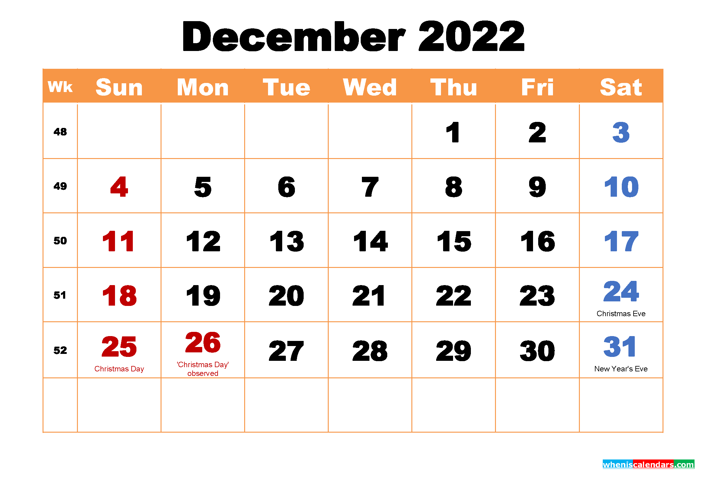 December 2022 Printable Monthly Calendar with Holidays