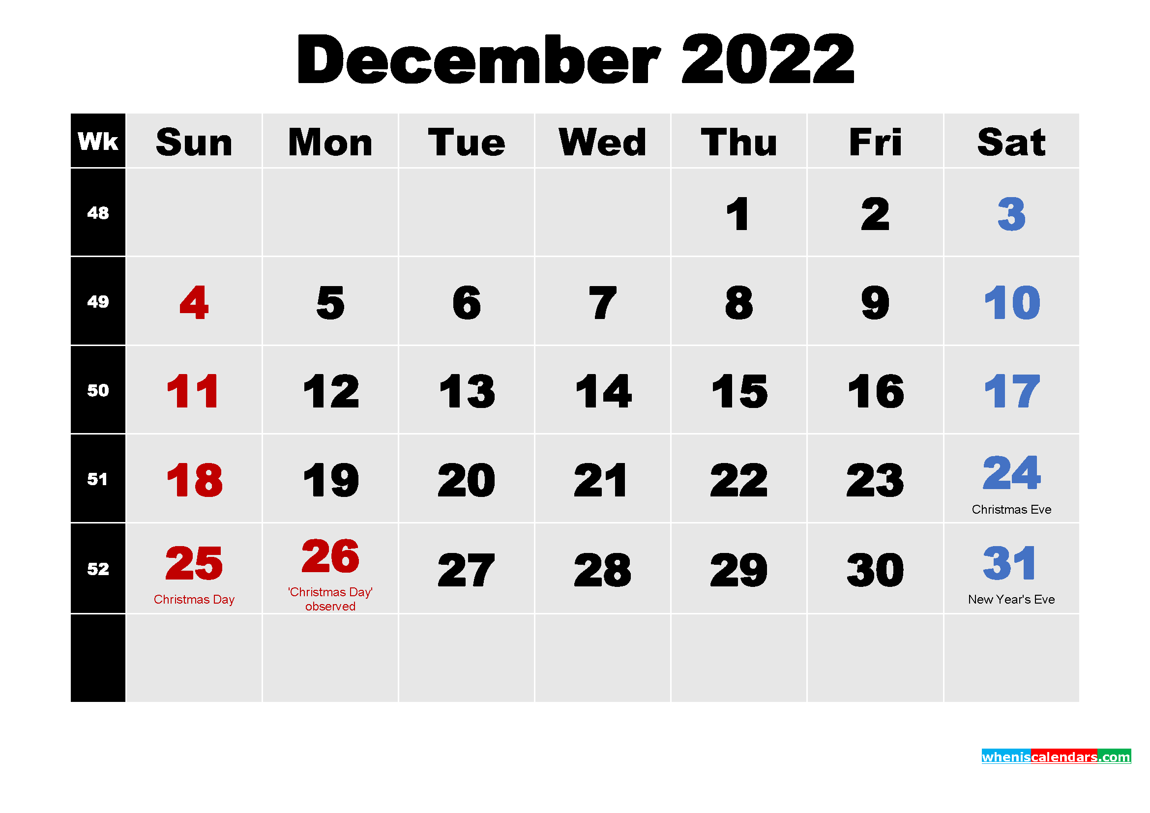 Free December 2022 Printable Calendar Template Word, PDF