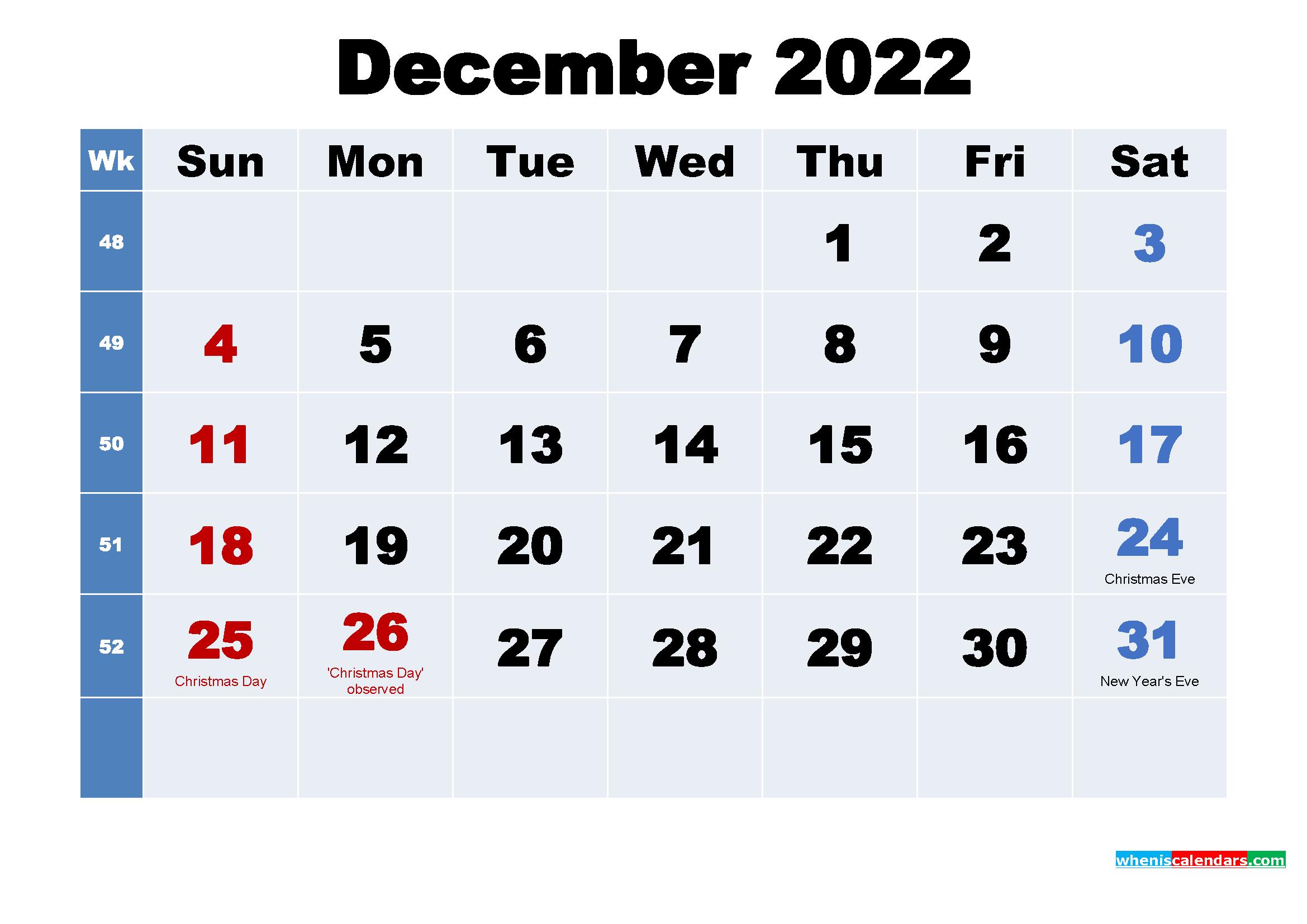 December 2022 Desktop Calendar with Holidays