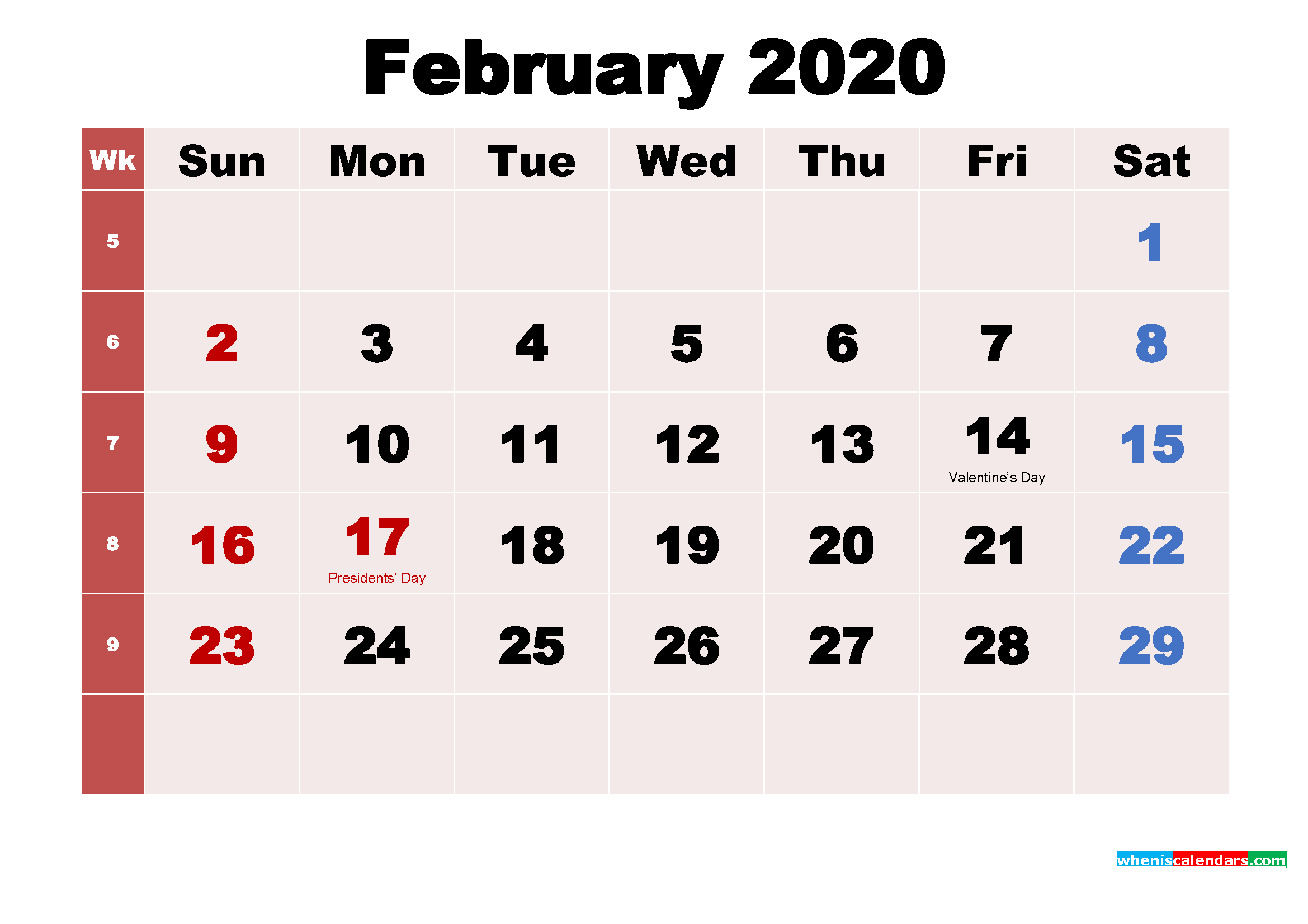 Free Printable February 2020 Calendar with Holidays as Word, PDF