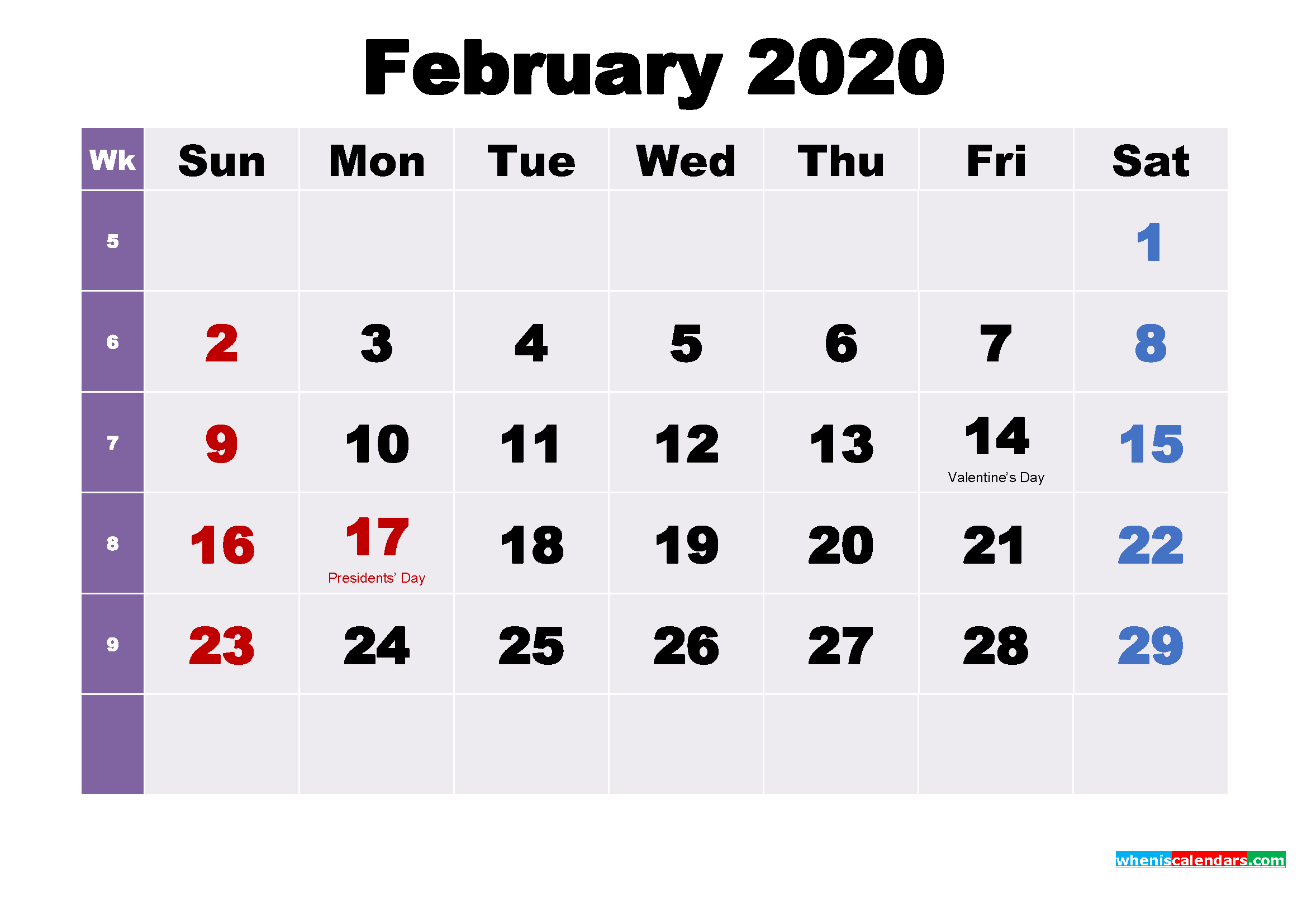 Printable February 2020 Calendar with Holidays Word, PDF