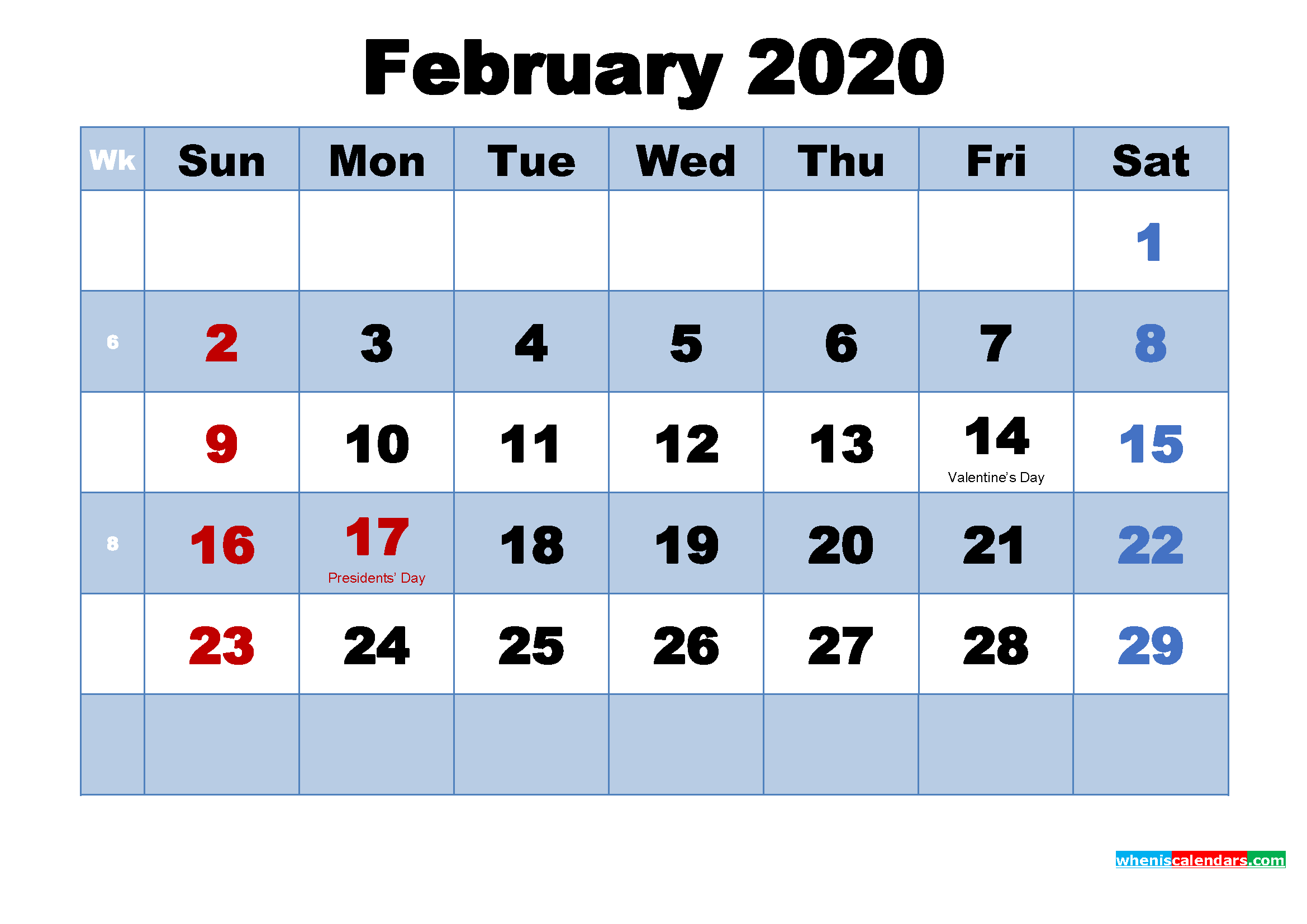 February 2020 Desktop Calendar Monthly