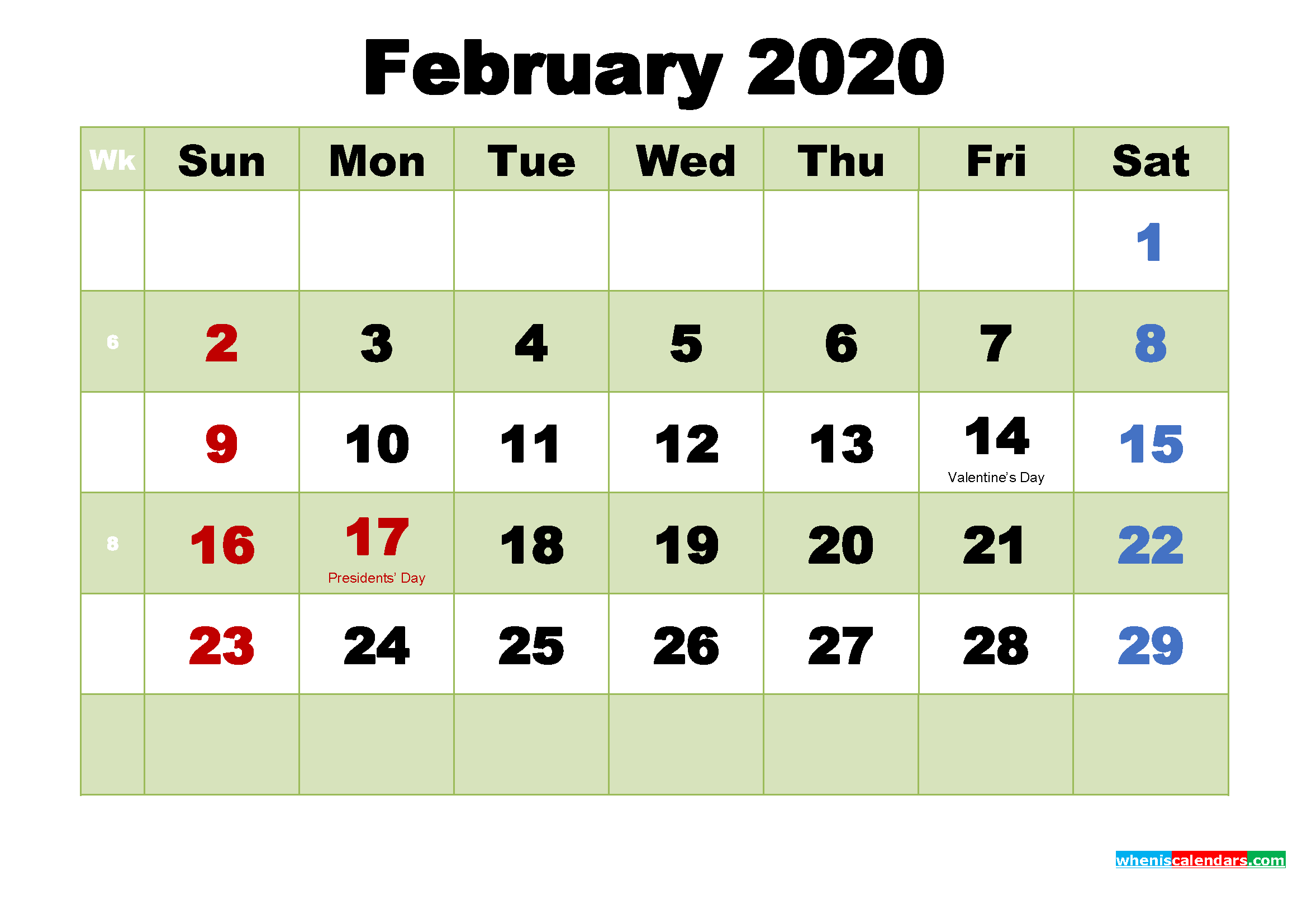 Printable 2020 Calendar by Month February