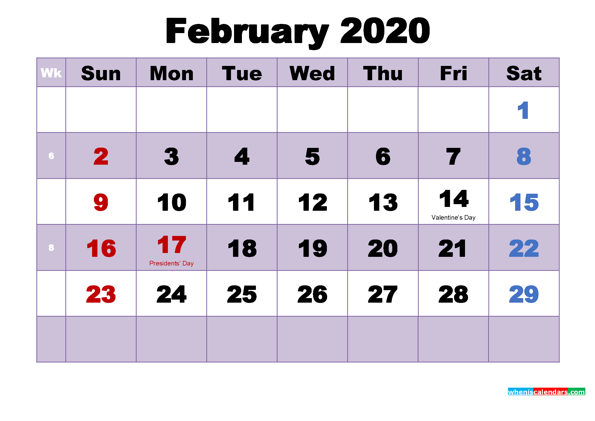 February 2020 Calendar Wallpaper Free Download