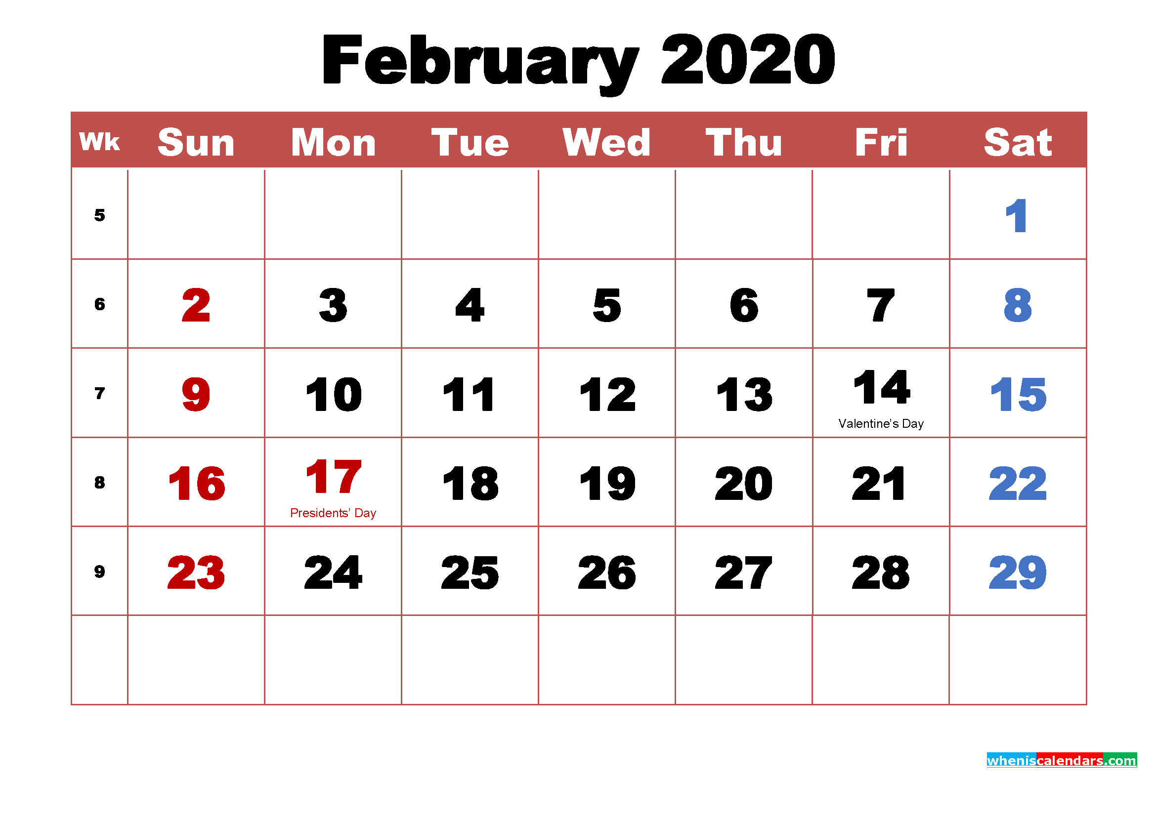 Printable 2020 Calendar with Holidays February