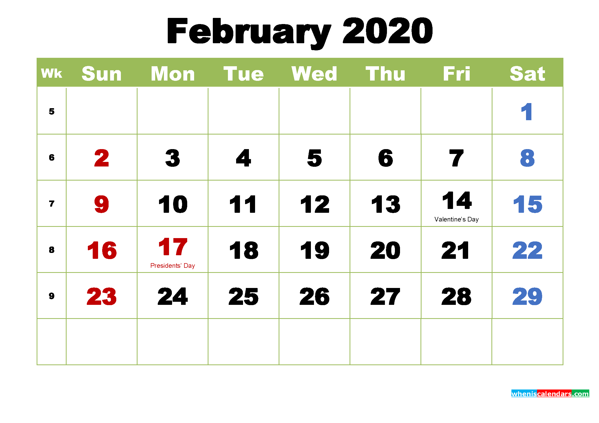 Free February 2020 Printable Calendar with Holidays