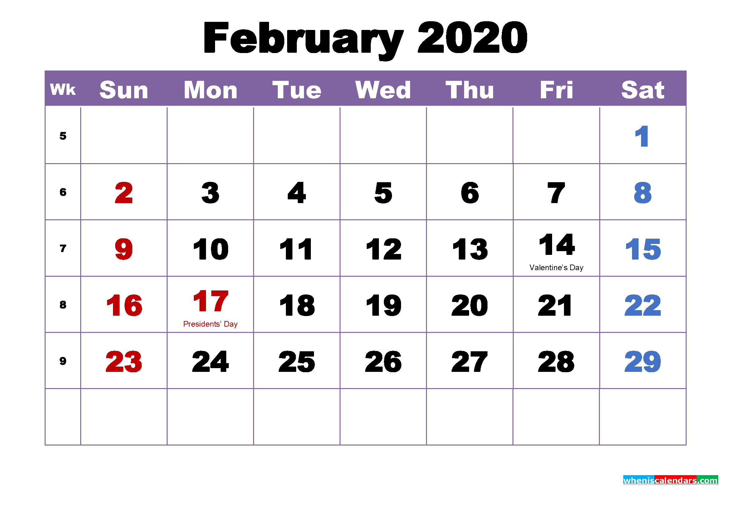 Free Printable February 2020 Calendar Wallpaper