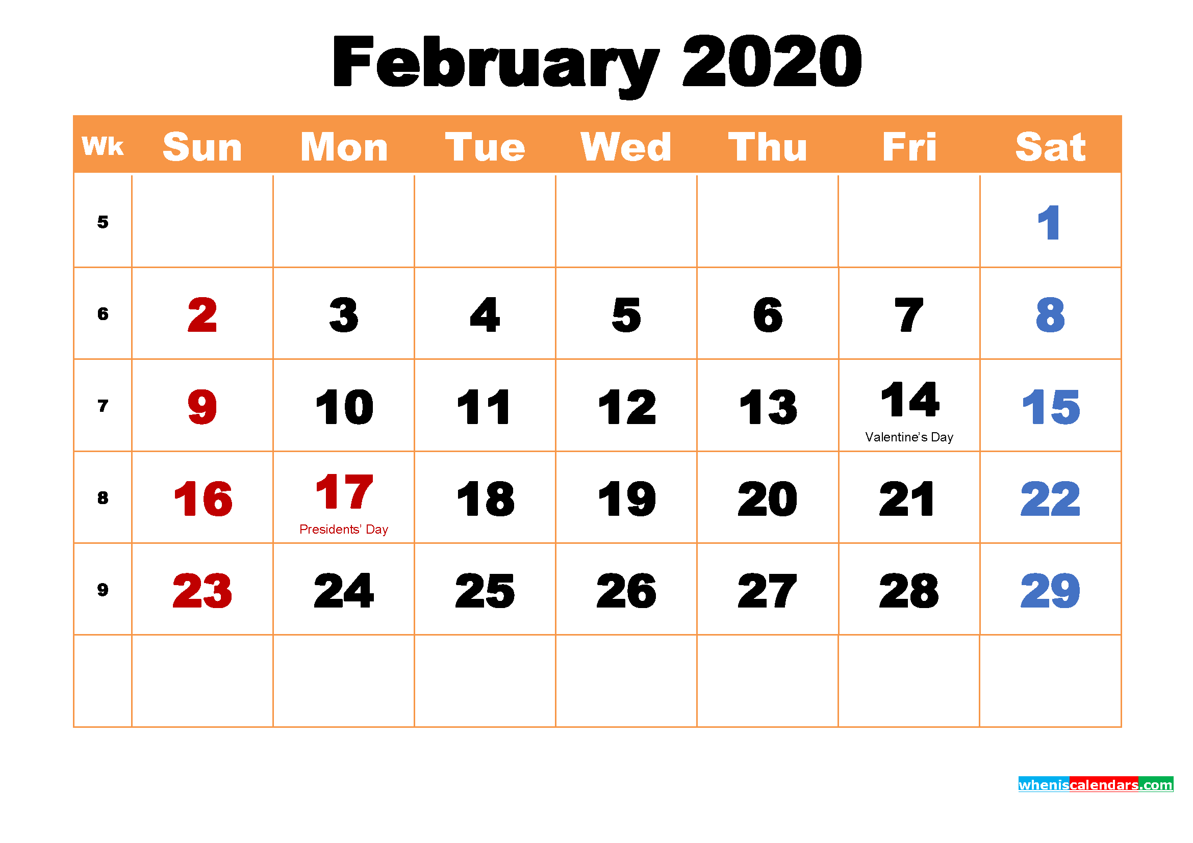 February 2020 Printable Monthly Calendar with Holidays