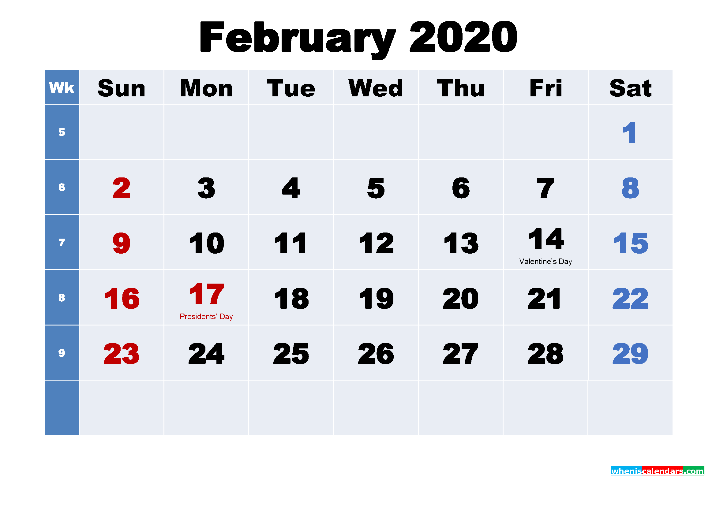 Free 2020 Printable Calendar February as Word, PDF