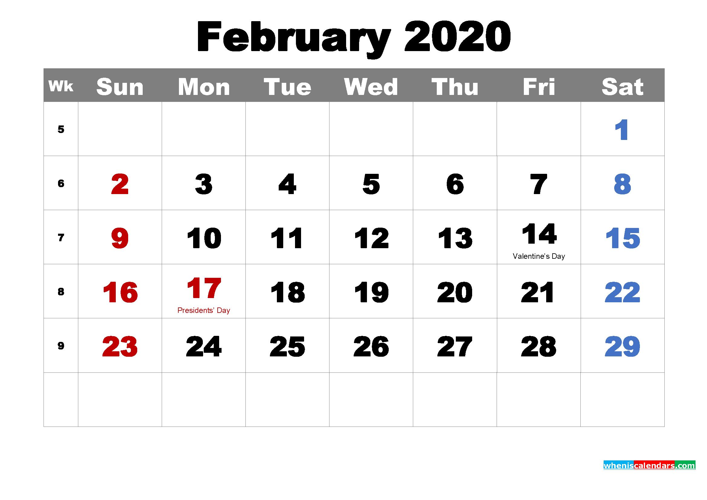 Printable Calendar February 2020 with Holidays as Word, PDF