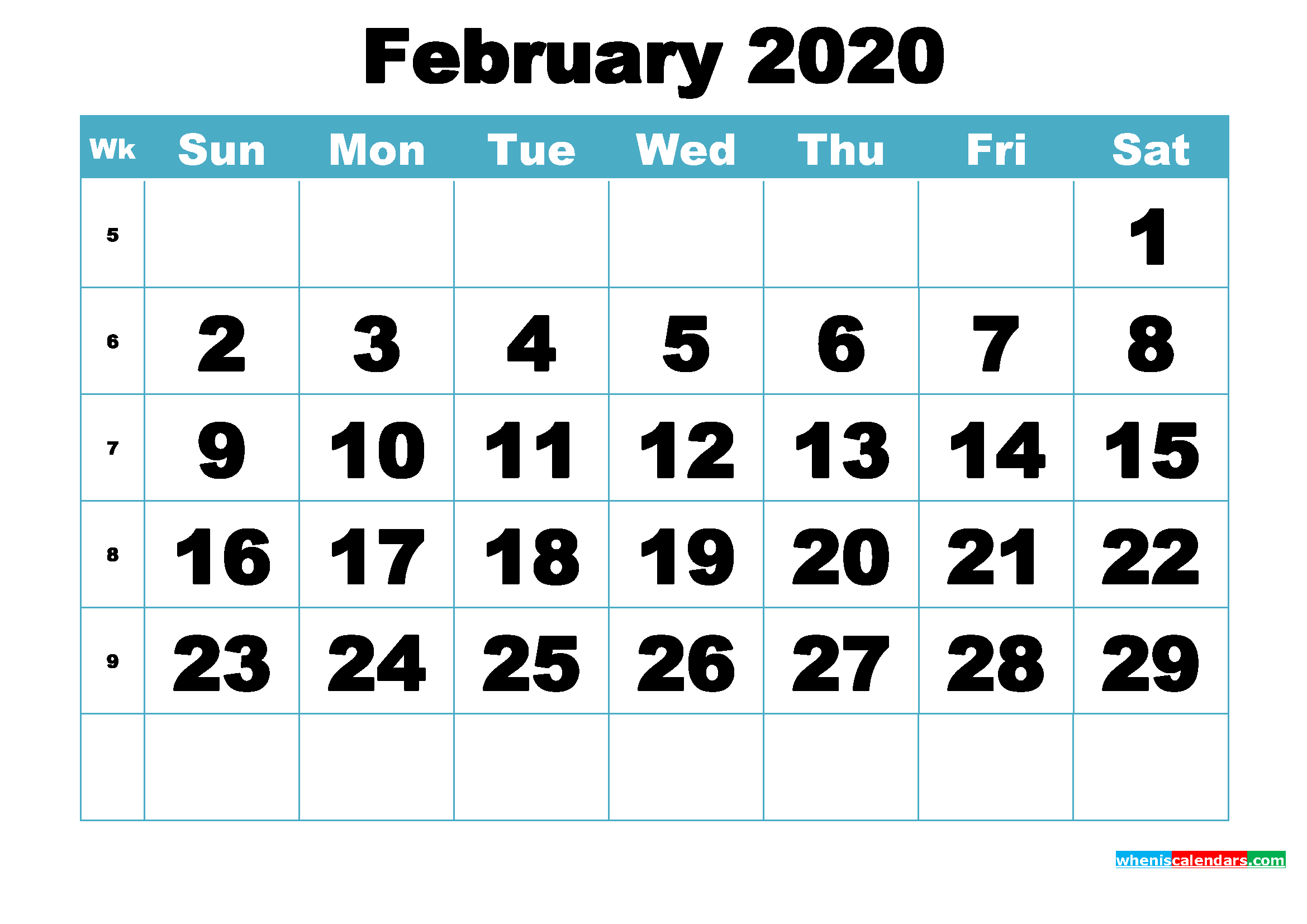 Free February 2020 Printable Monthly Calendar Template