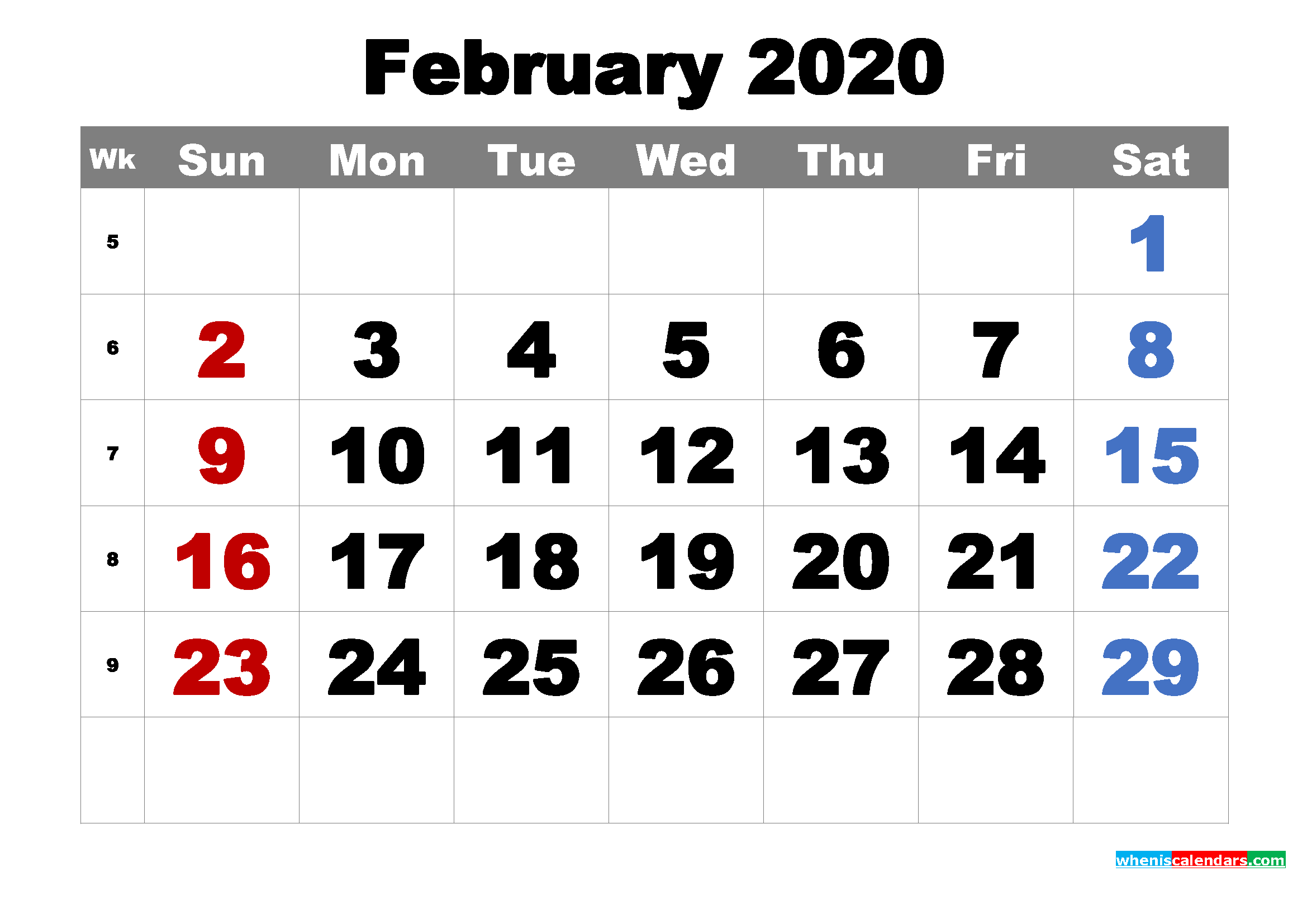 Free Printable February 2020 Calendar Word, PDF, Image