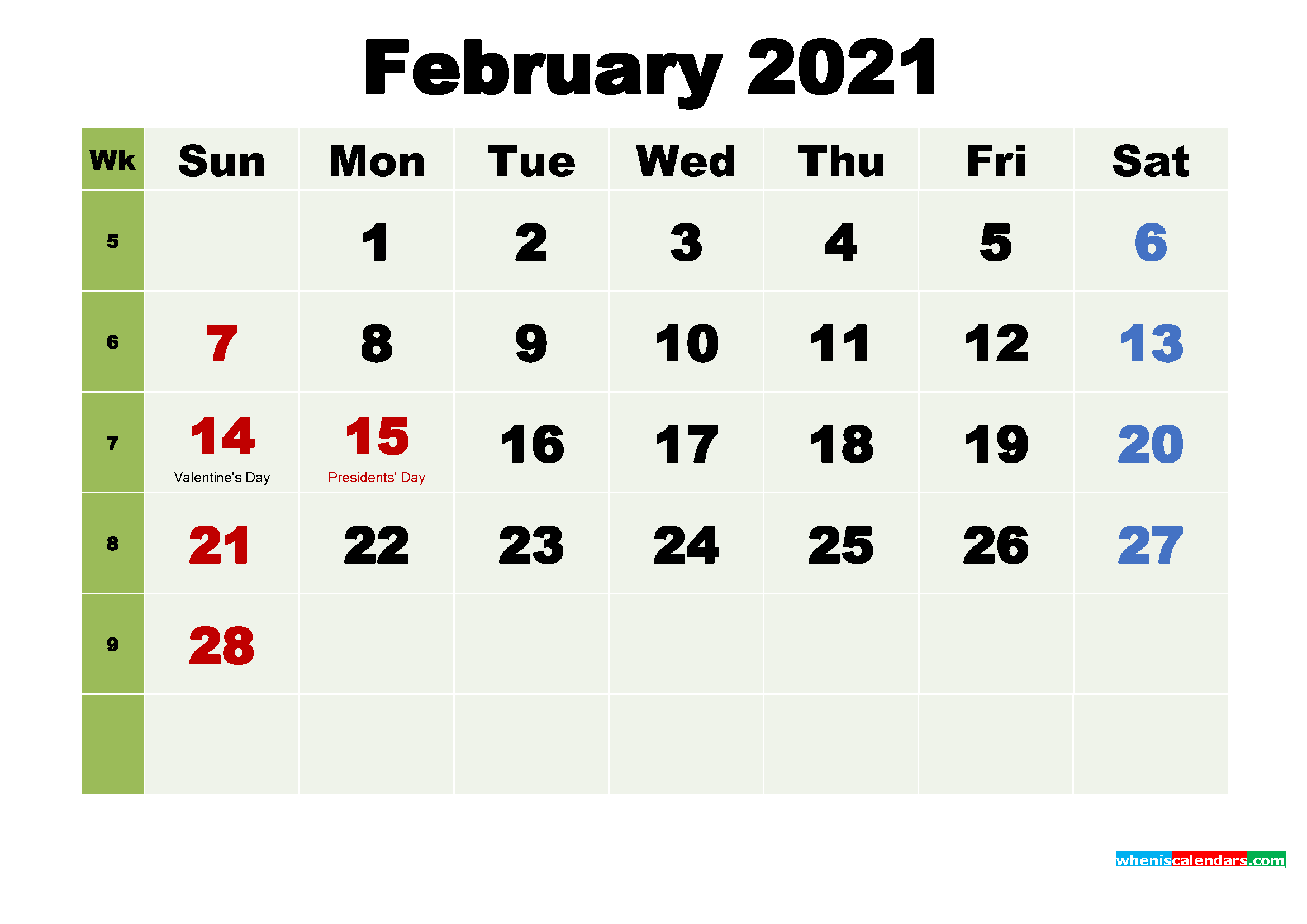 Printable February 2021 Calendar by Month