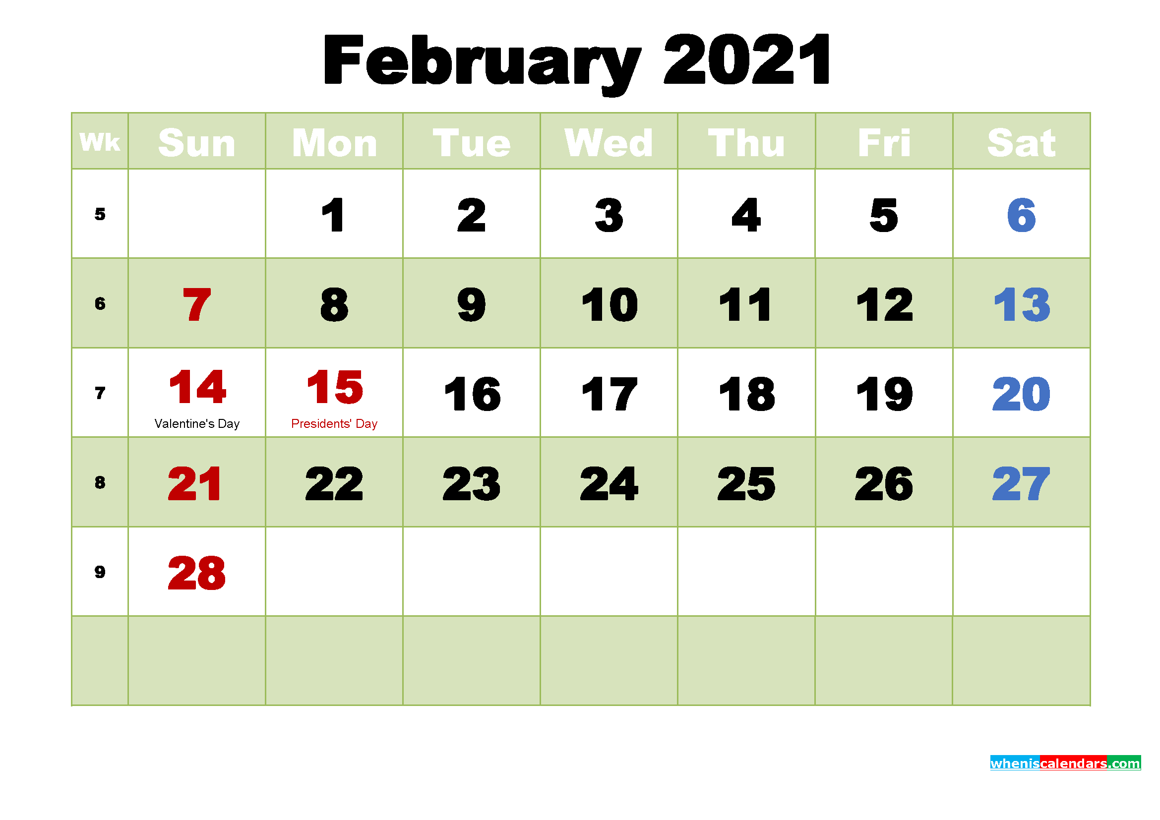 Printable 2021 Calendar by Month February