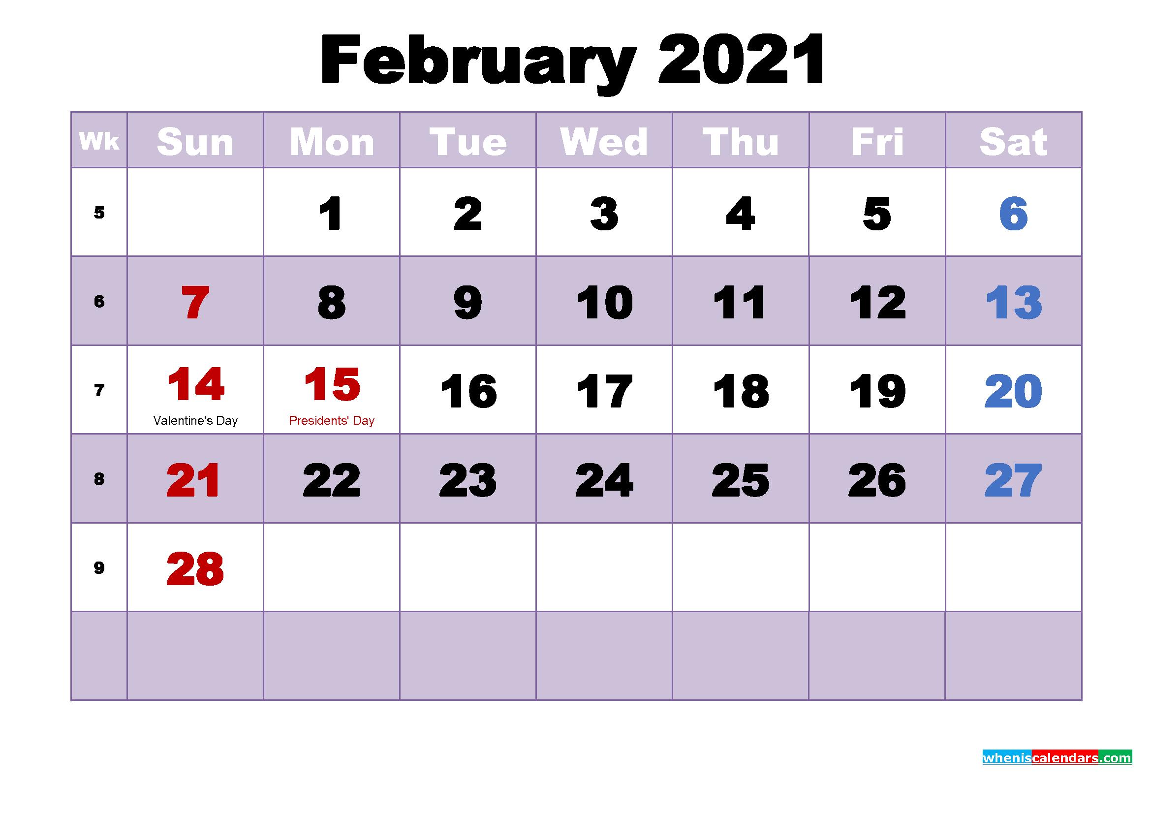 February 2021 Calendar Wallpaper Free Download