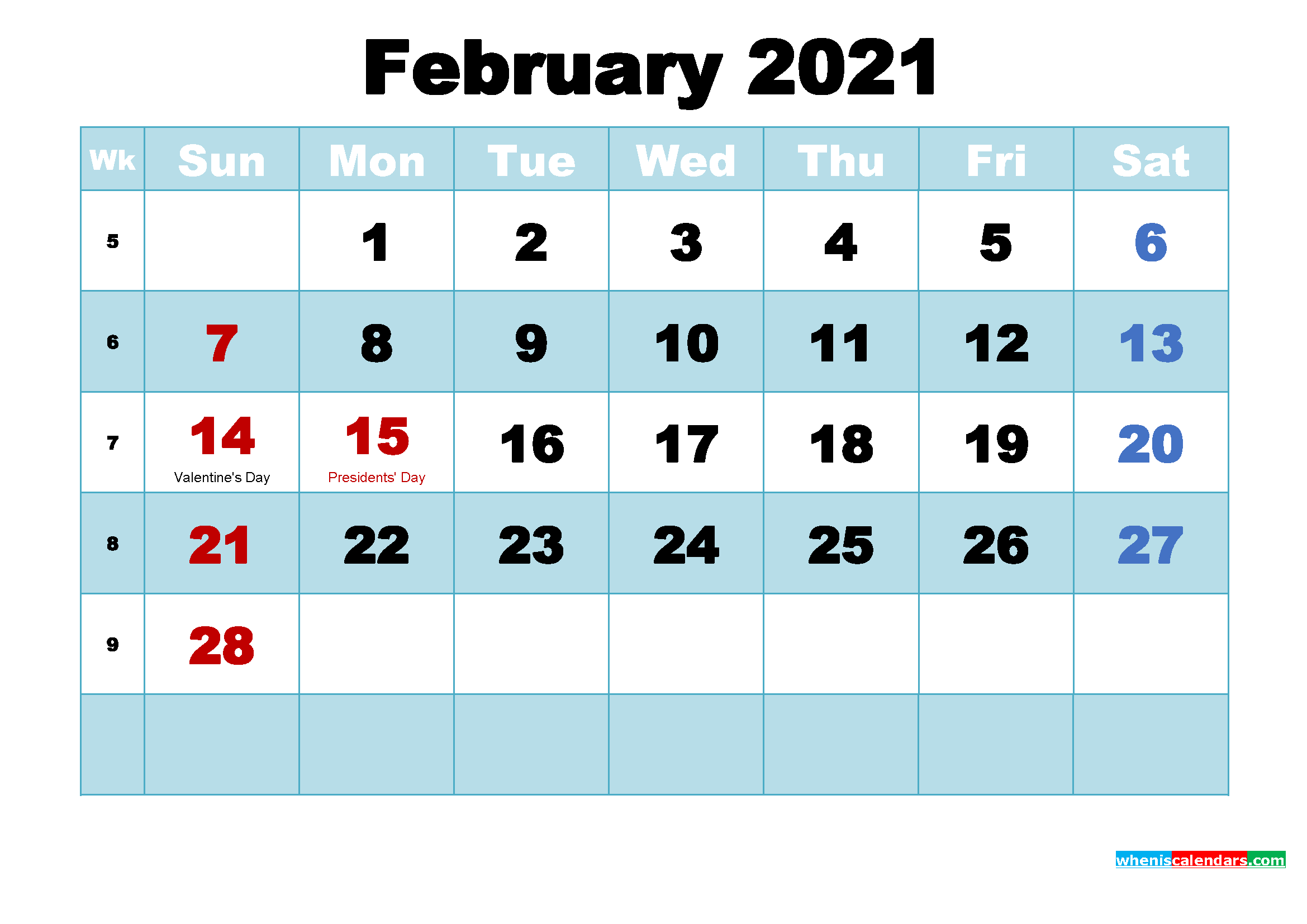 Free Printable 2021 Calendar with Holidays February