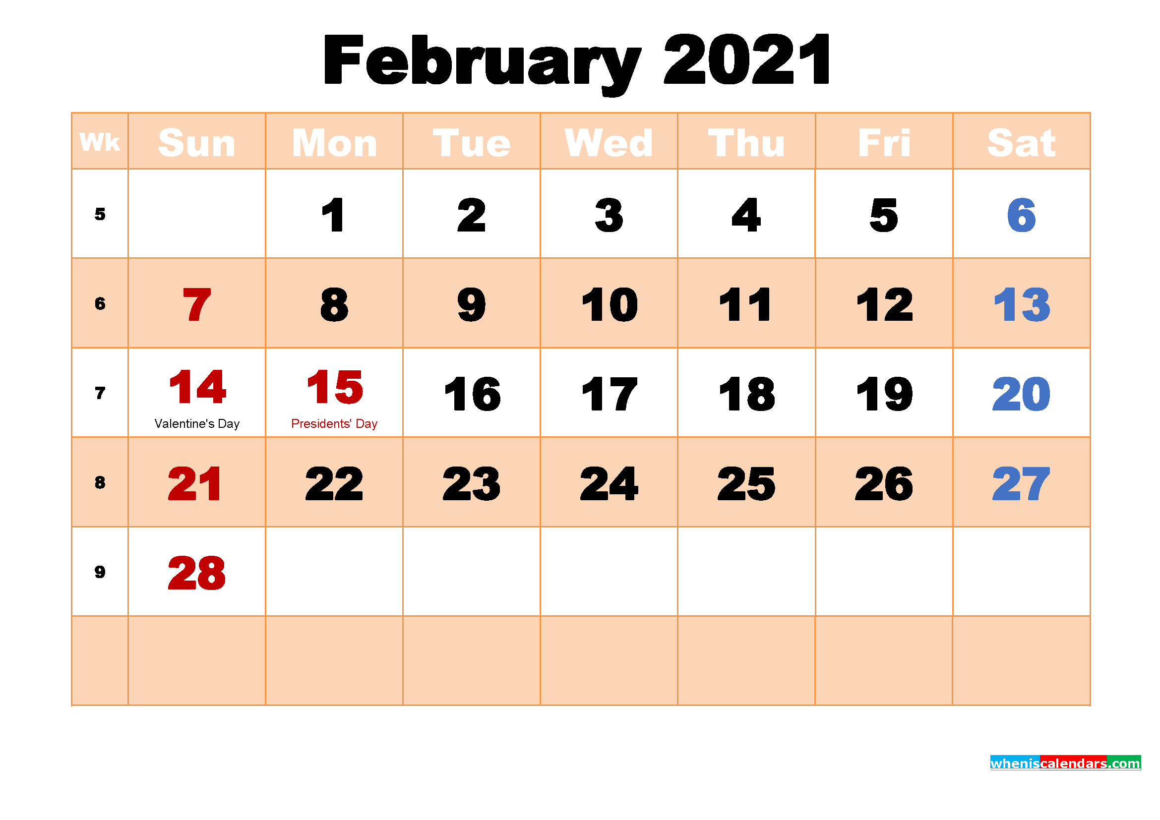 Free Printable 2021 Monthly Calendar with Holidays February