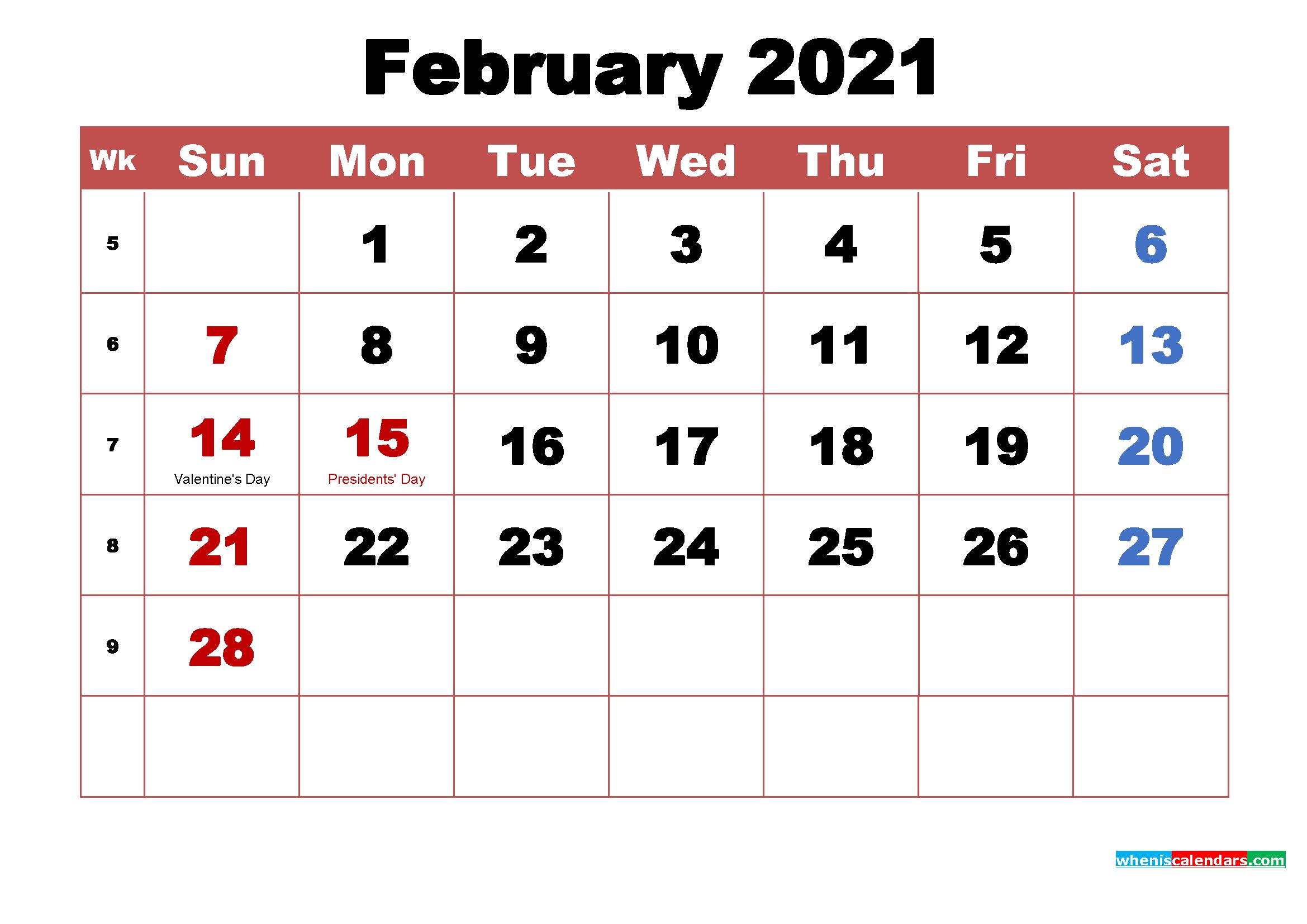February 2021 Calendar Wallpaper High Resolution