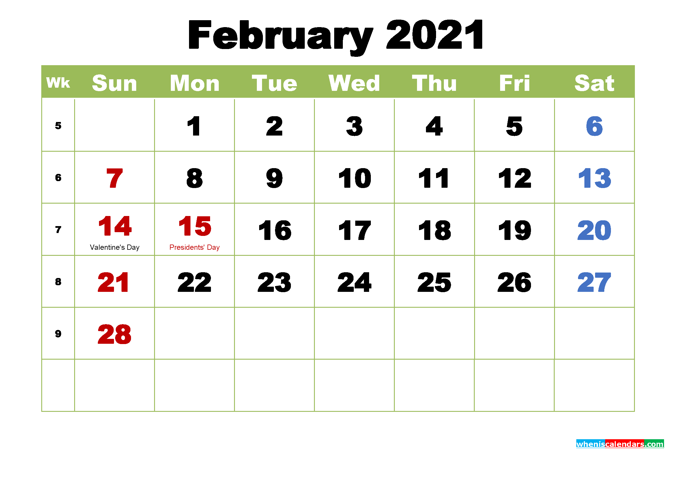Free February 2021 Printable Calendar with Holidays