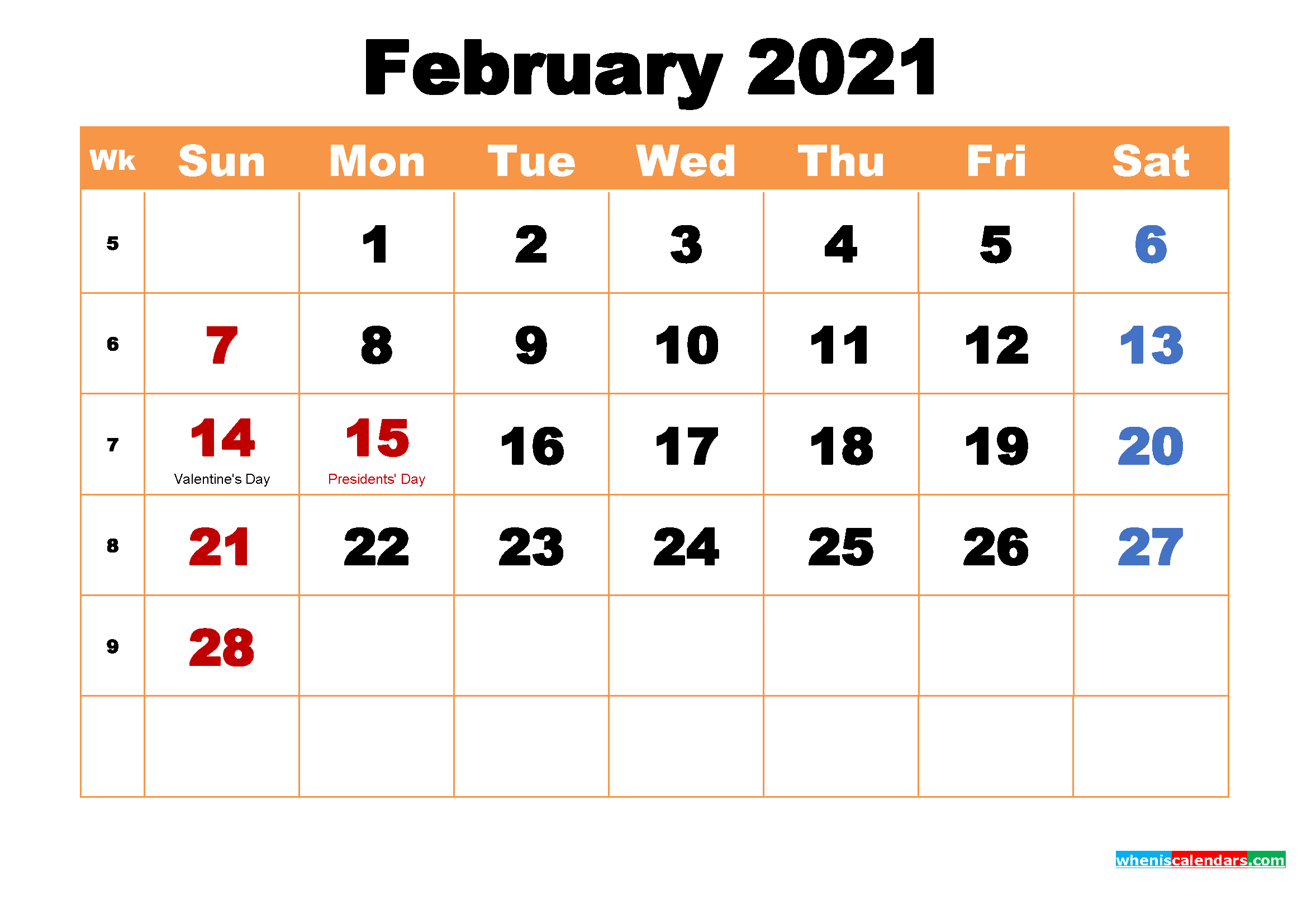February 2021 Desktop Calendar Free Download