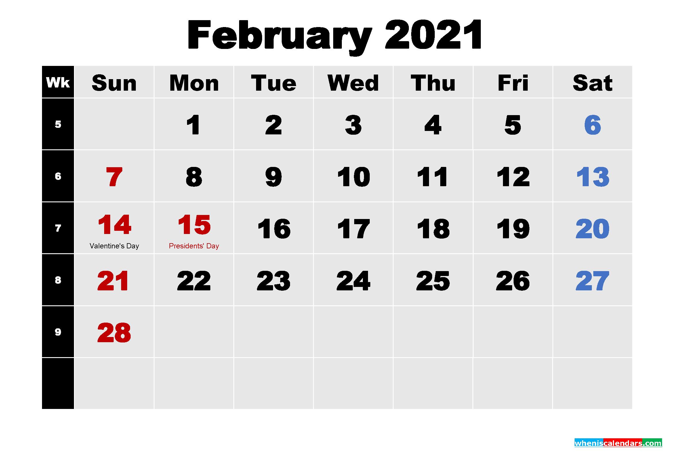 February 2021 Calendar with Holidays Wallpaper