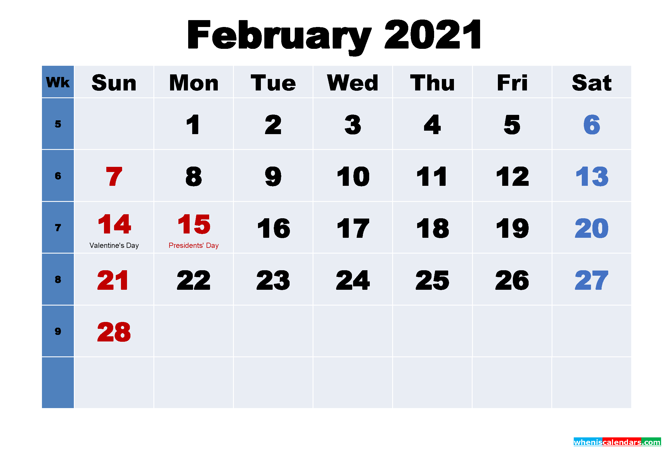 Free 2021 Printable Calendar February as Word, PDF
