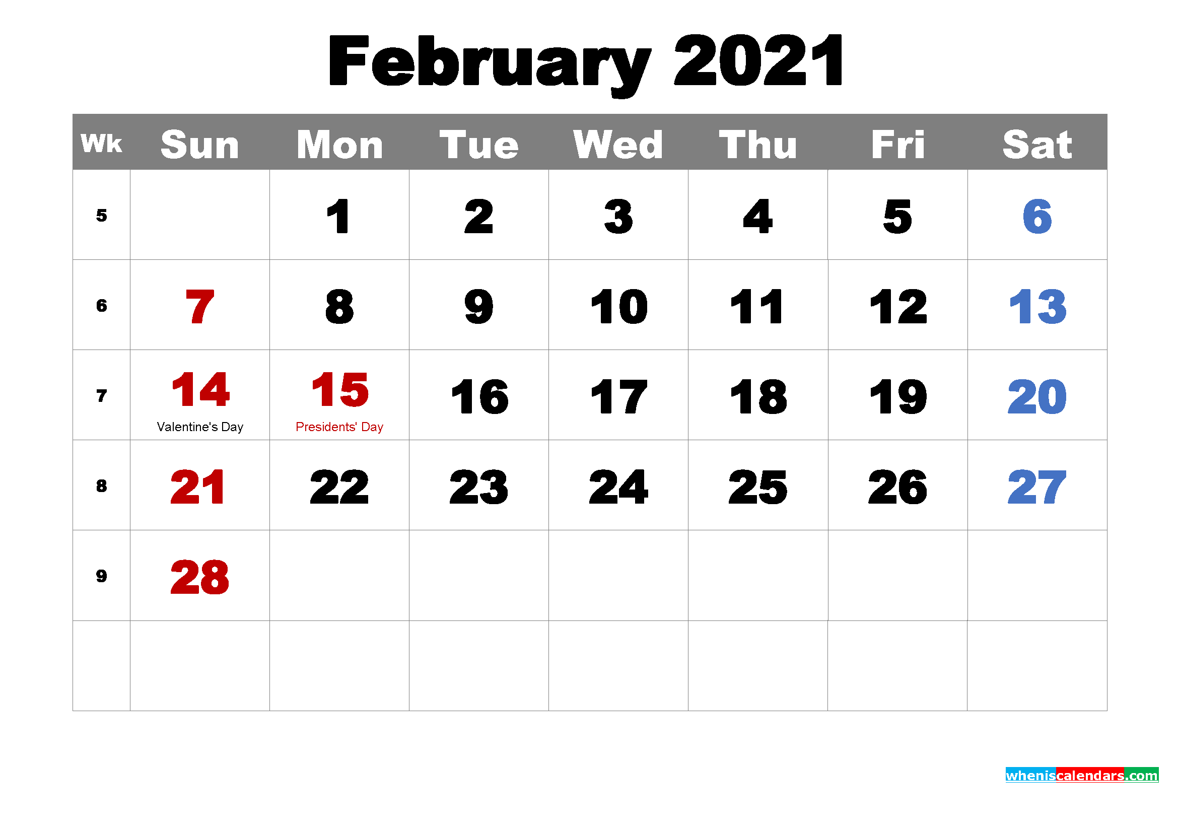 Free Printable February 2021 Calendar Wallpaper