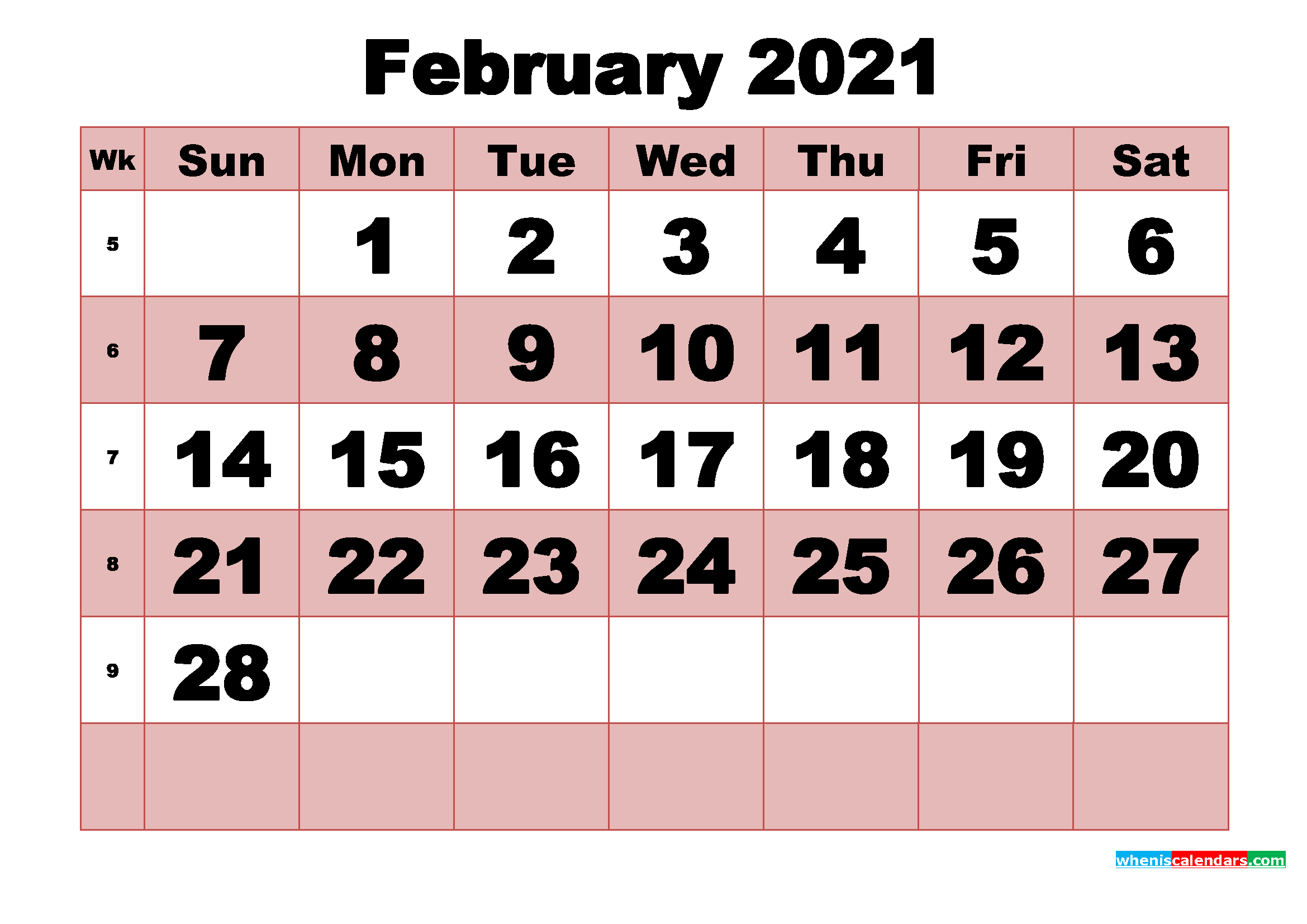 Free Printable Monthly Calendar February 2021