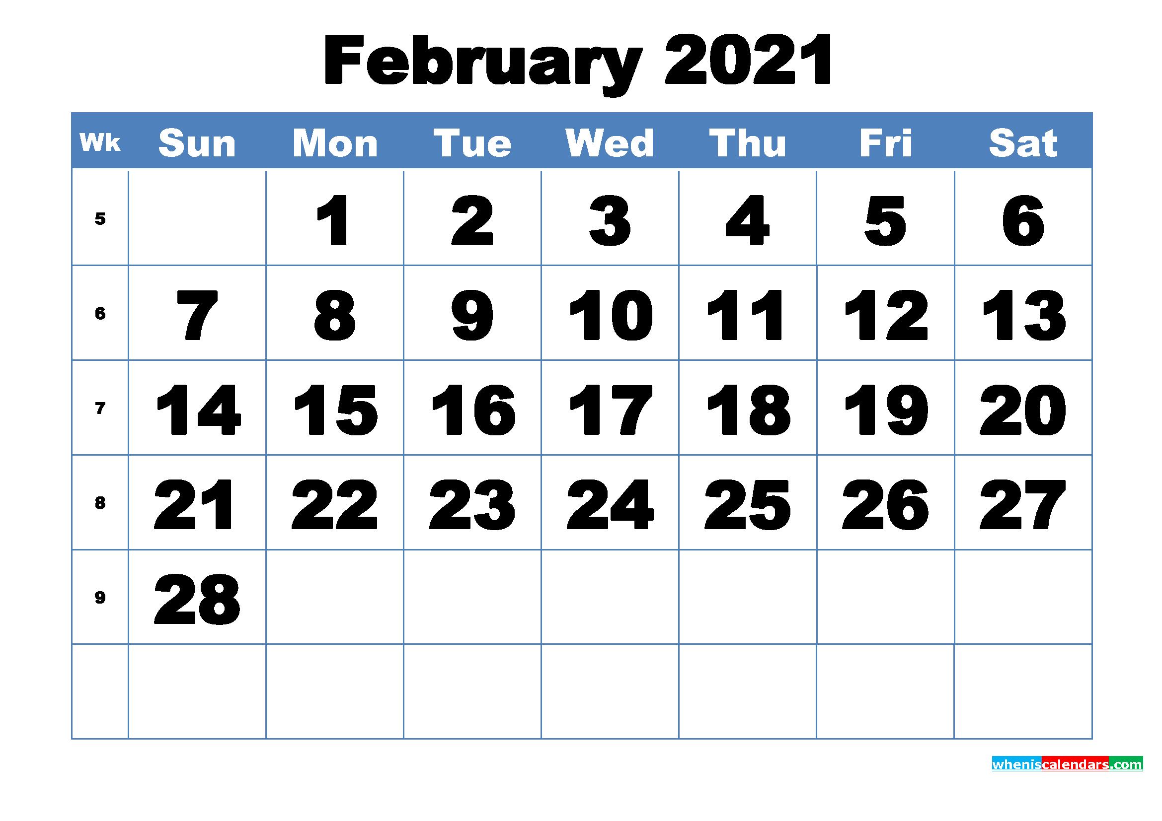 Free Printable February 2021 Calendar Template Word, PDF ...