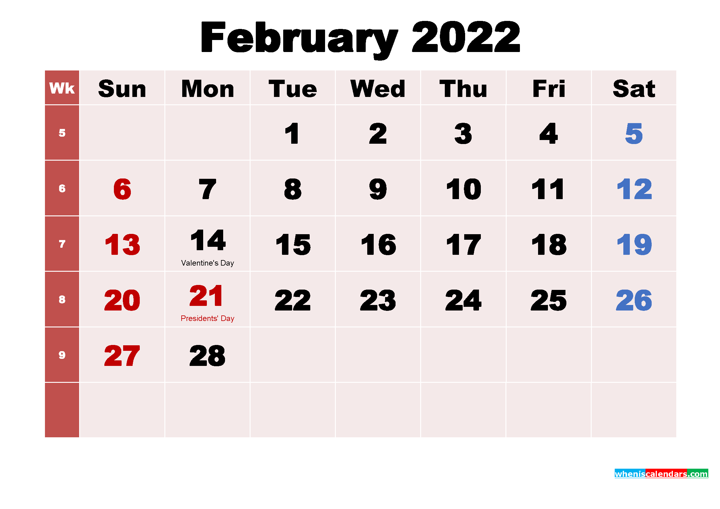 Free Printable February 2022 Calendar with Holidays as Word, PDF