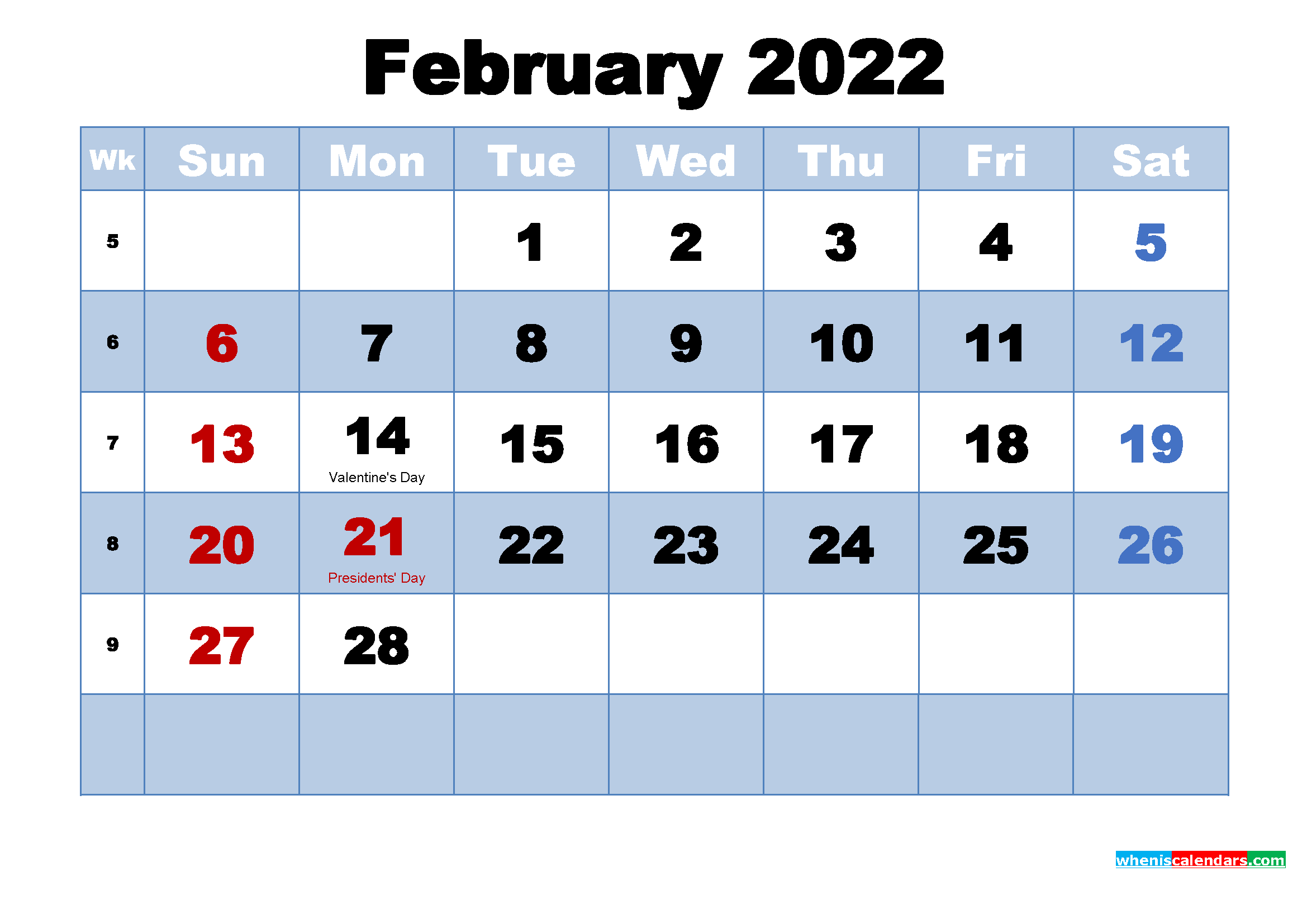 Free Printable 2022 Monthly Calendar with Holidays February