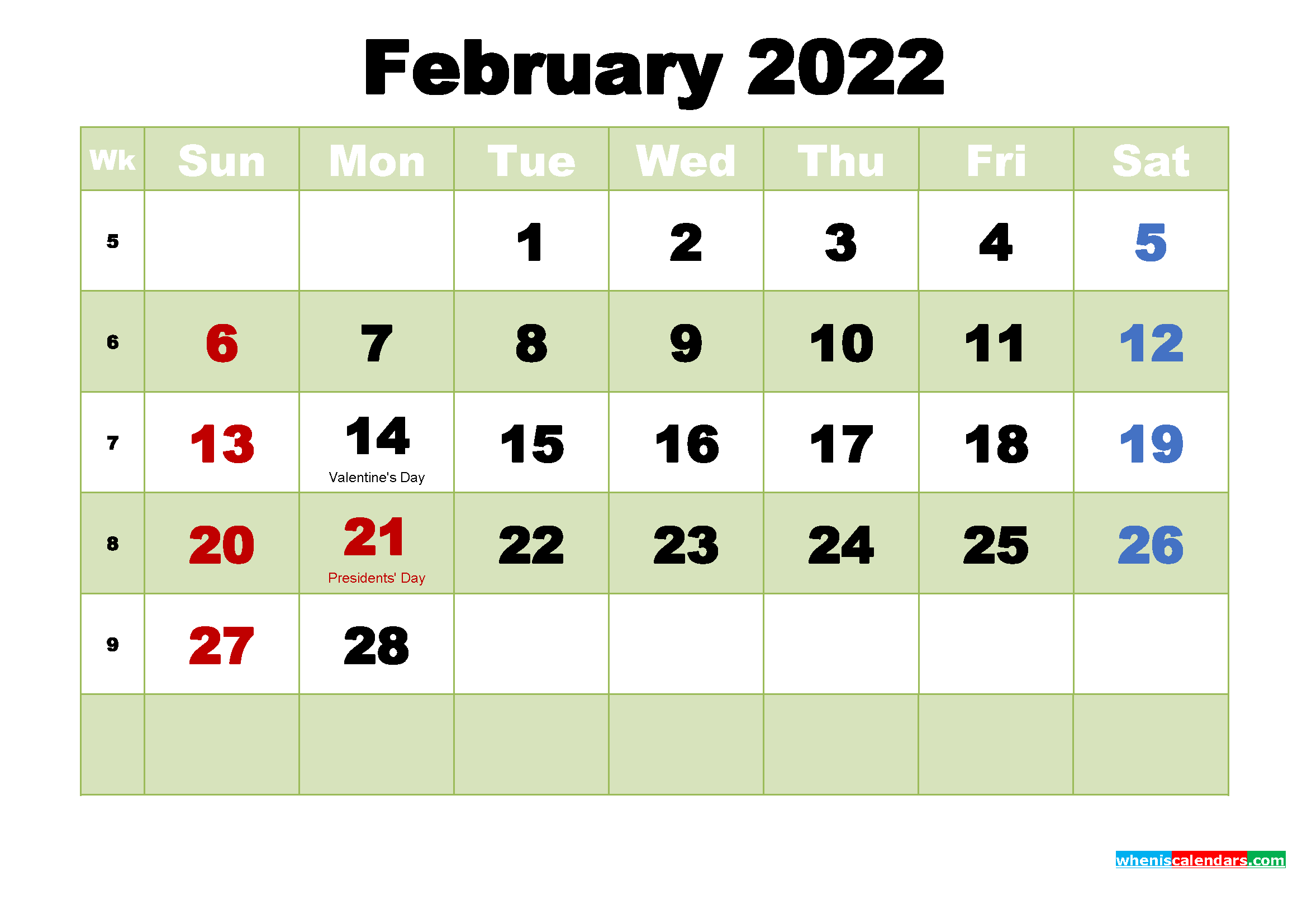 February 2022 Desktop Calendar Free Download