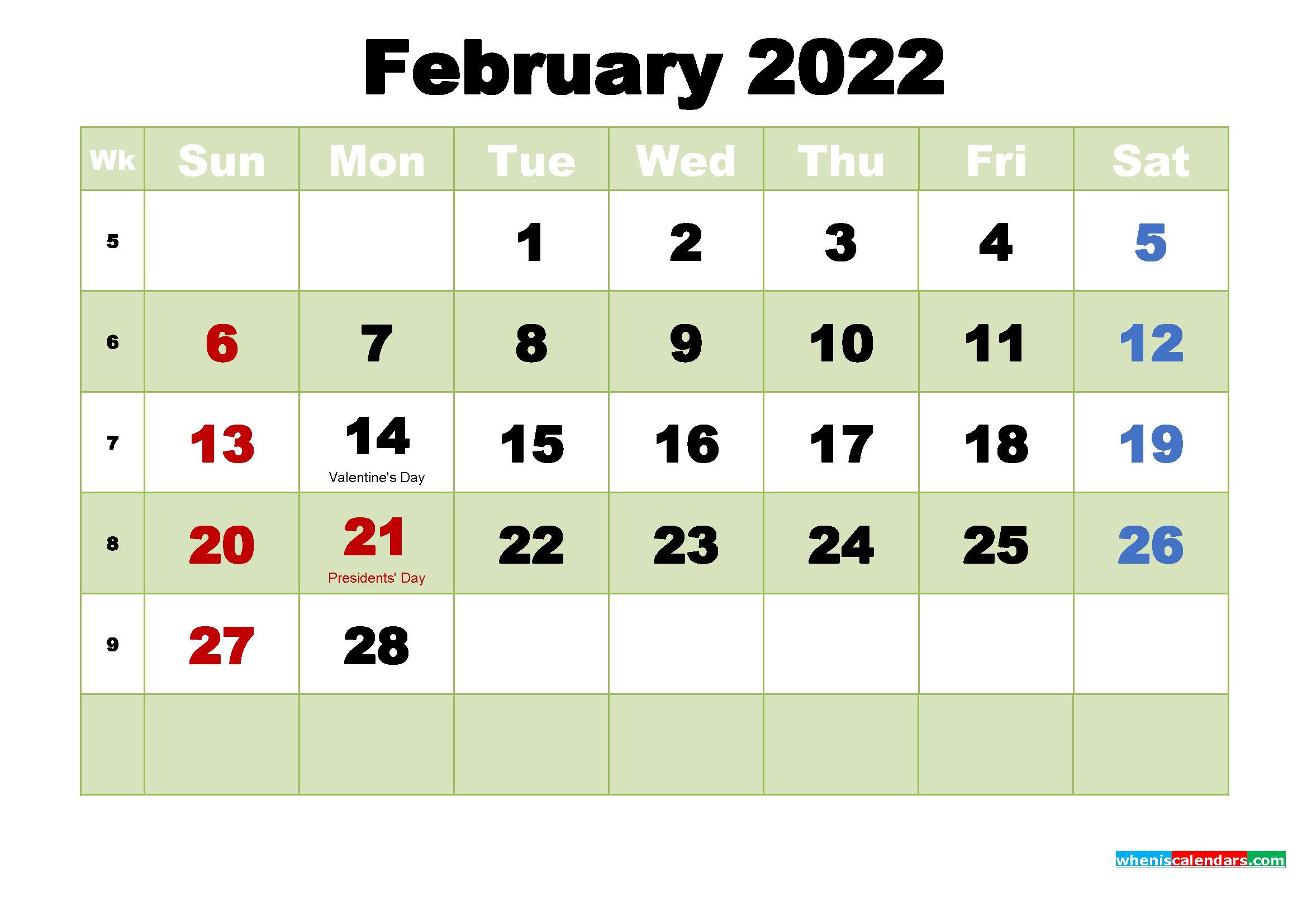 Free Printable February 2022 Calendar Wallpaper