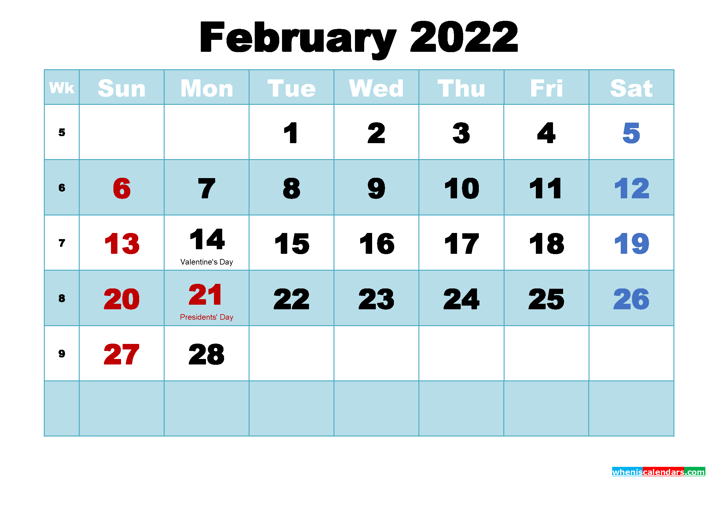 February 2022 Calendar Wallpaper High Resolution