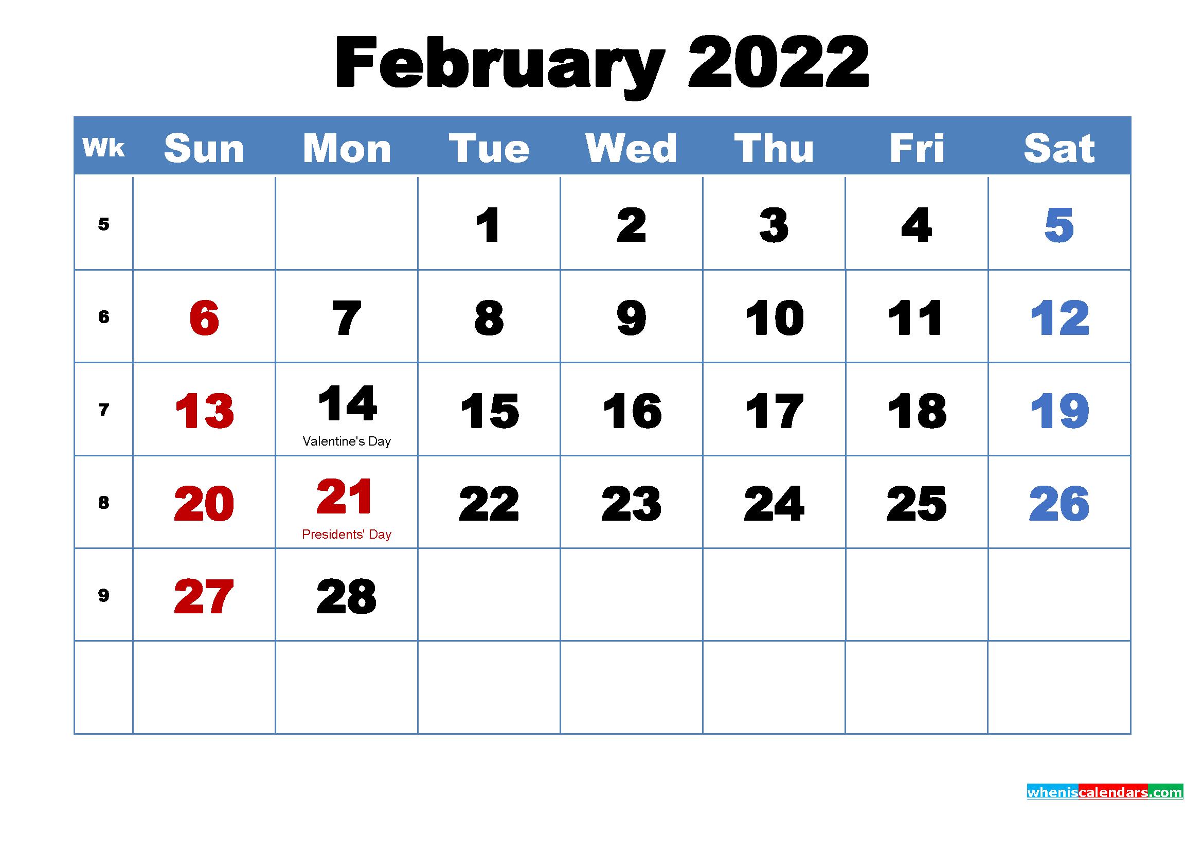 Printable 2022 Calendar by Month February