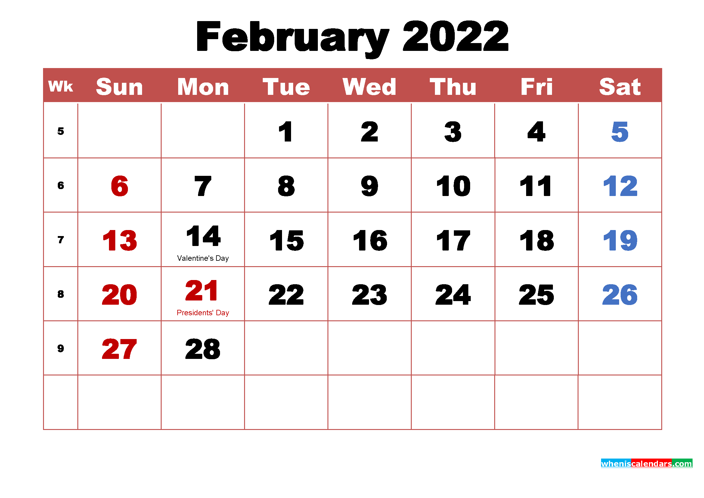 February 2022 Calendar with Holidays Printable
