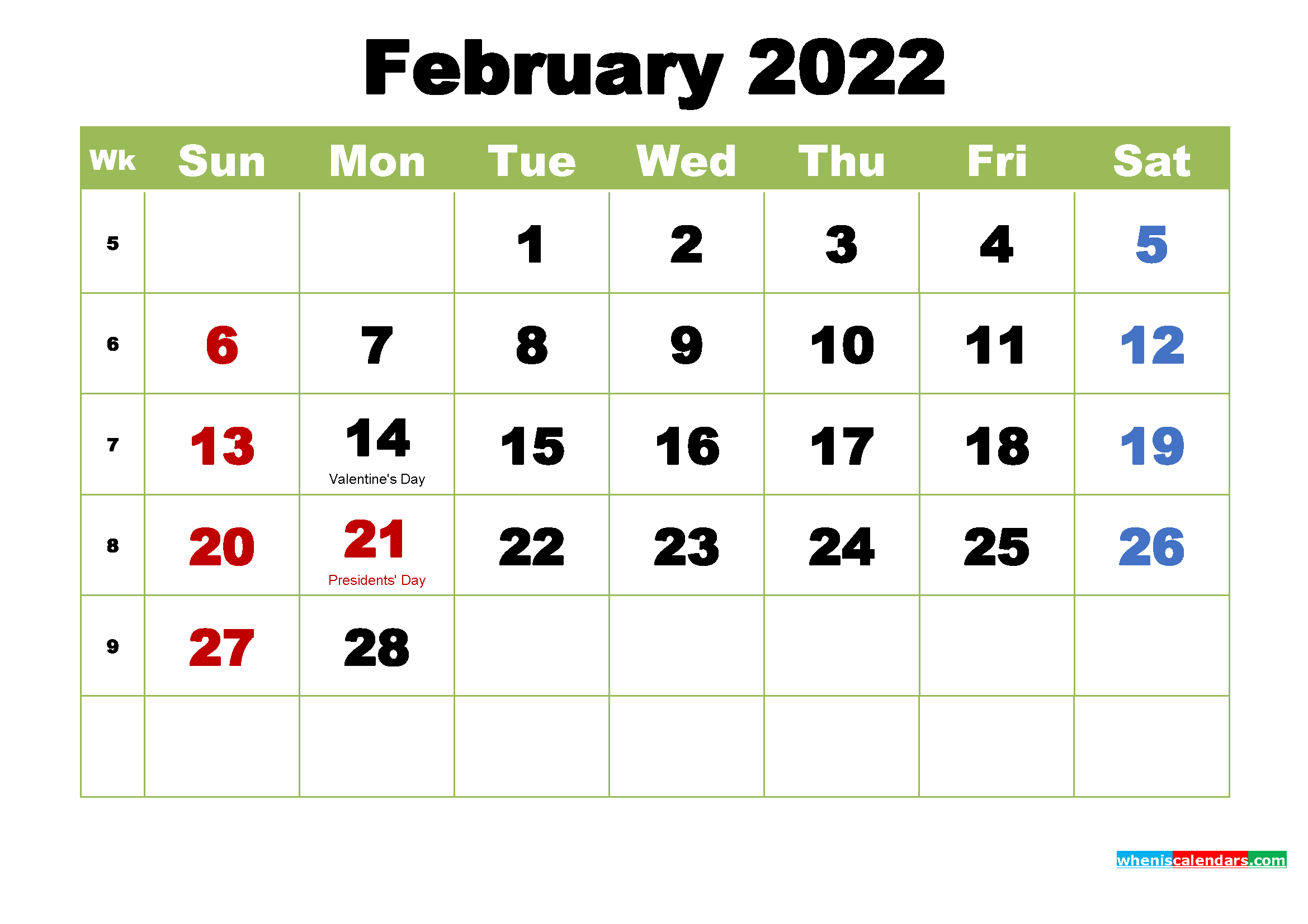 Free February 2022 Printable Calendar with Holidays