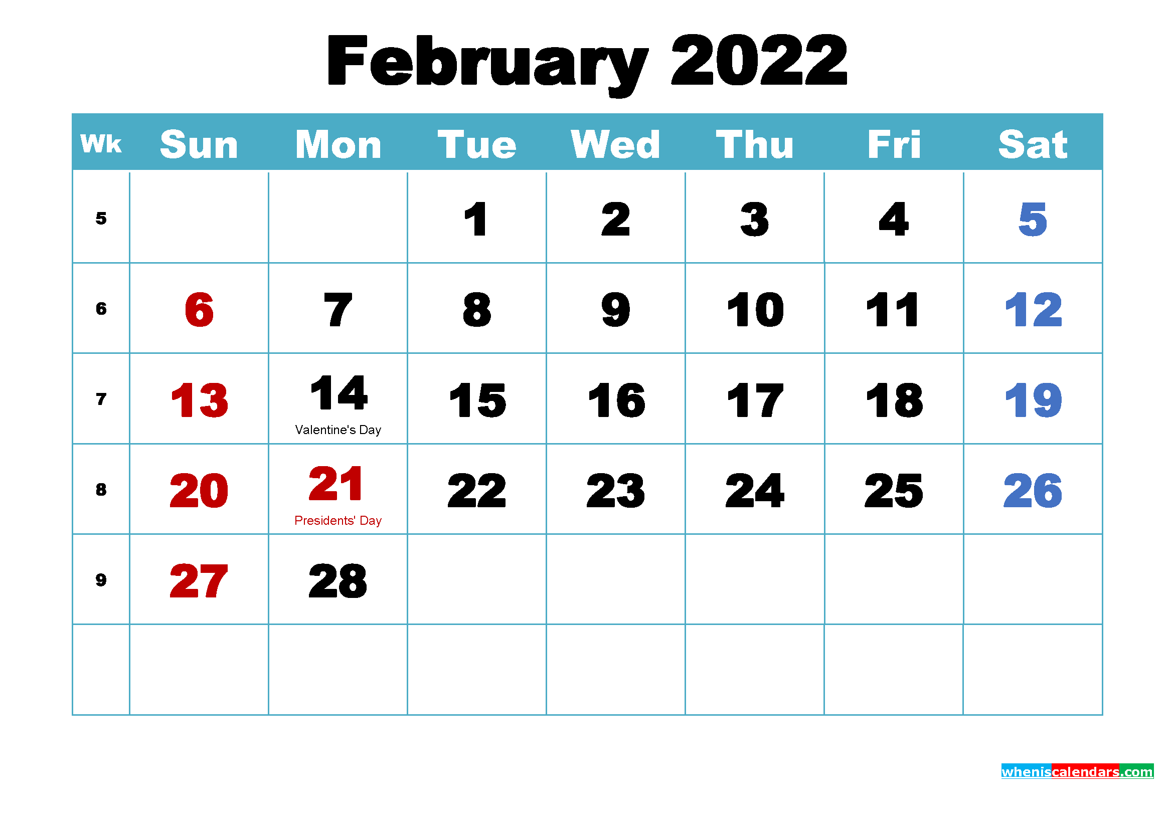 February 2022 Calendar Wallpaper Free Download