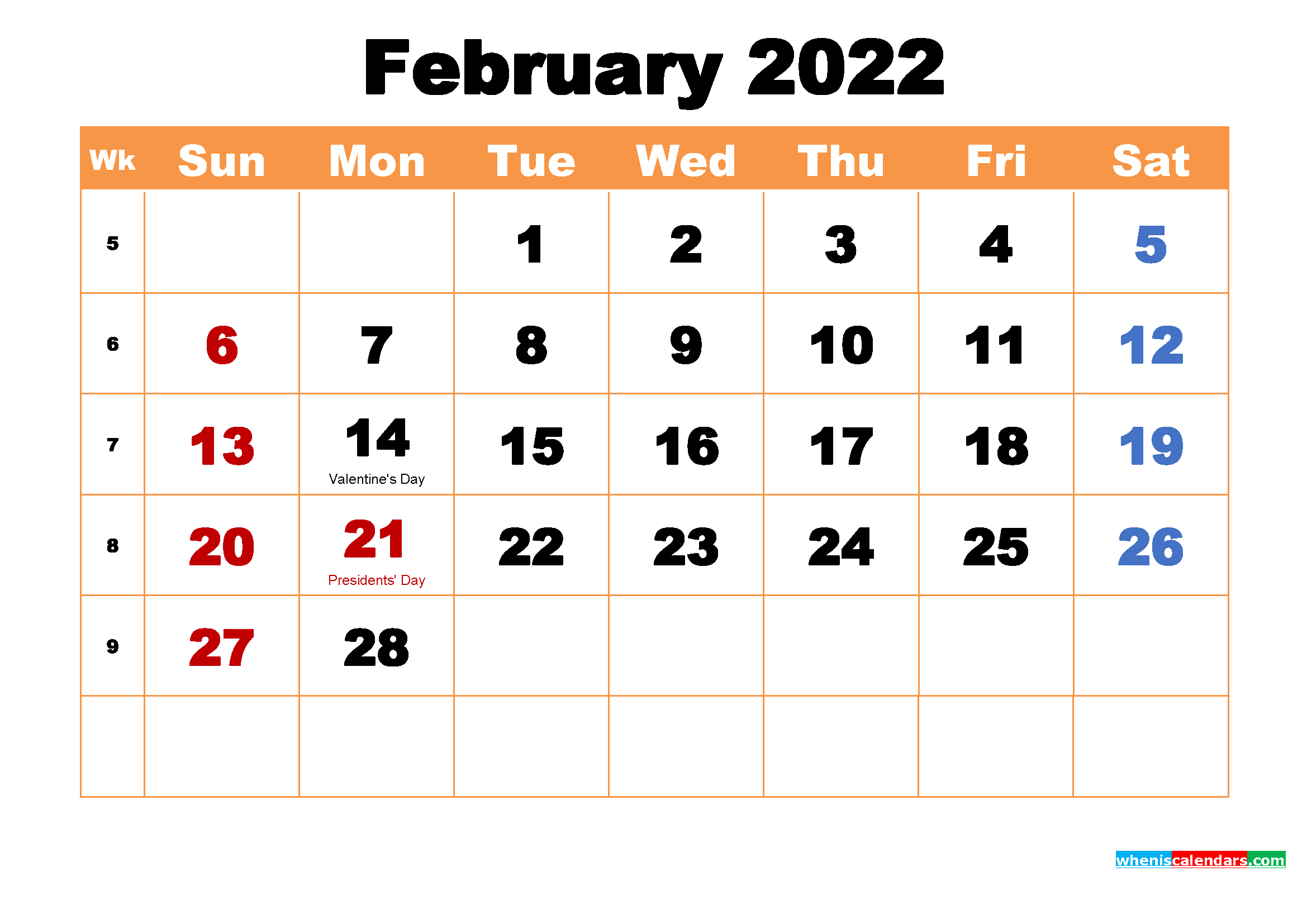 February 2022 Printable Monthly Calendar with Holidays ...