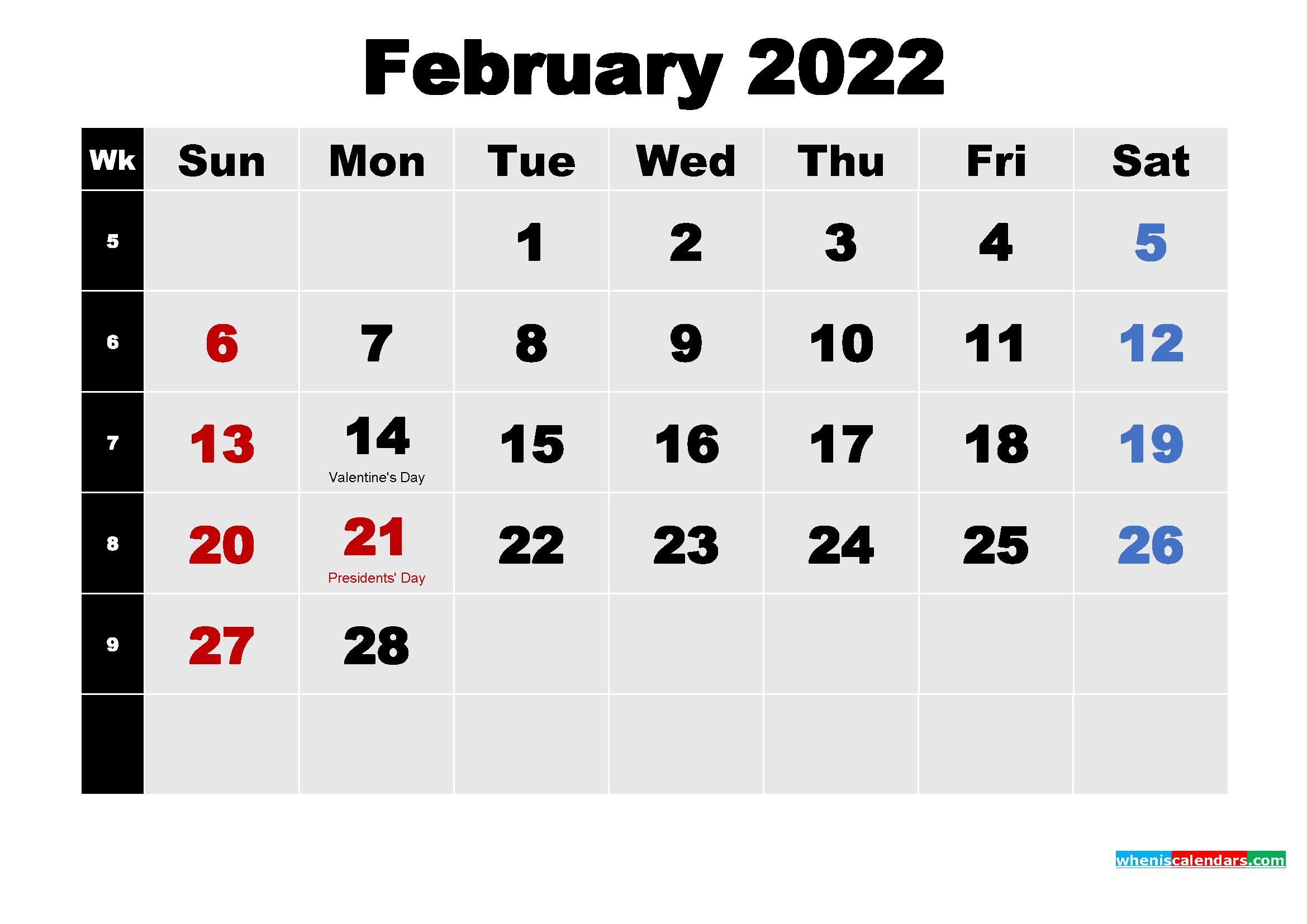 February 2022 Calendar with Holidays Wallpaper