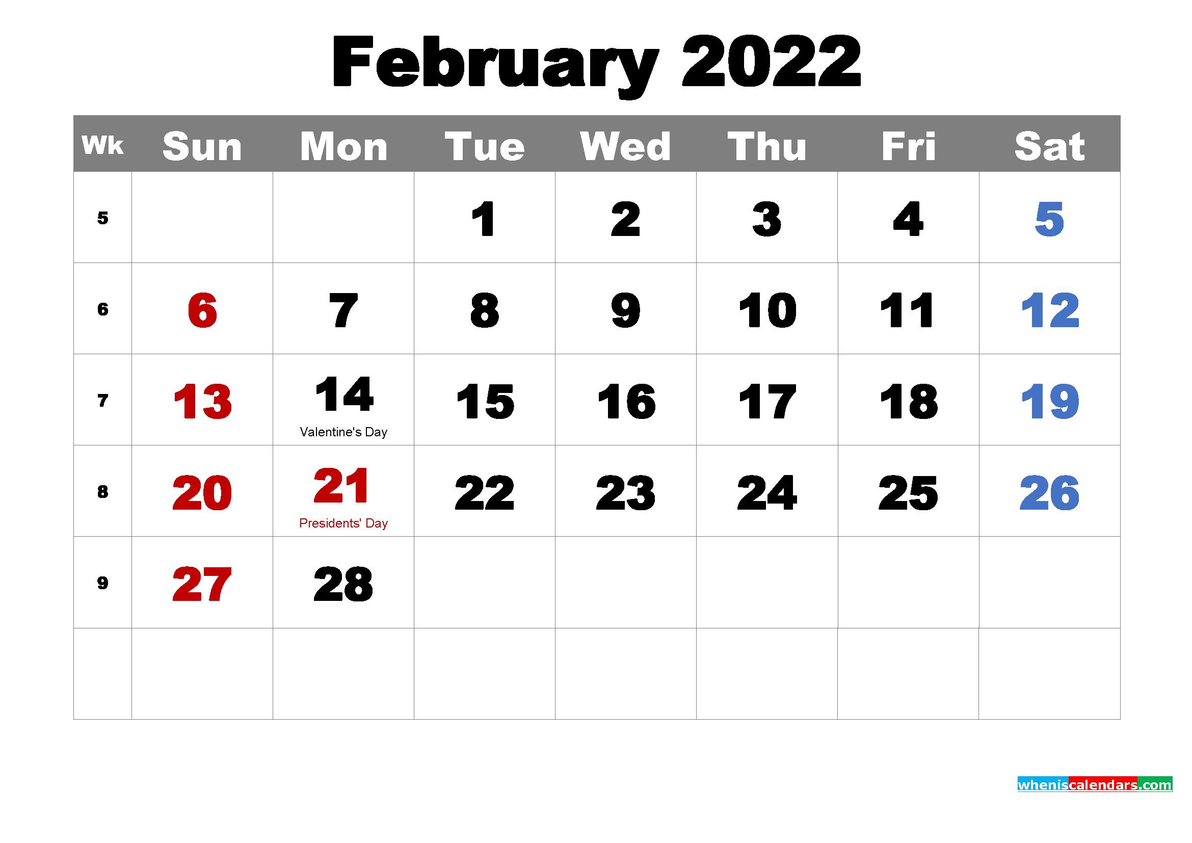 Free February 2022 Desktop Calendar High Resolution