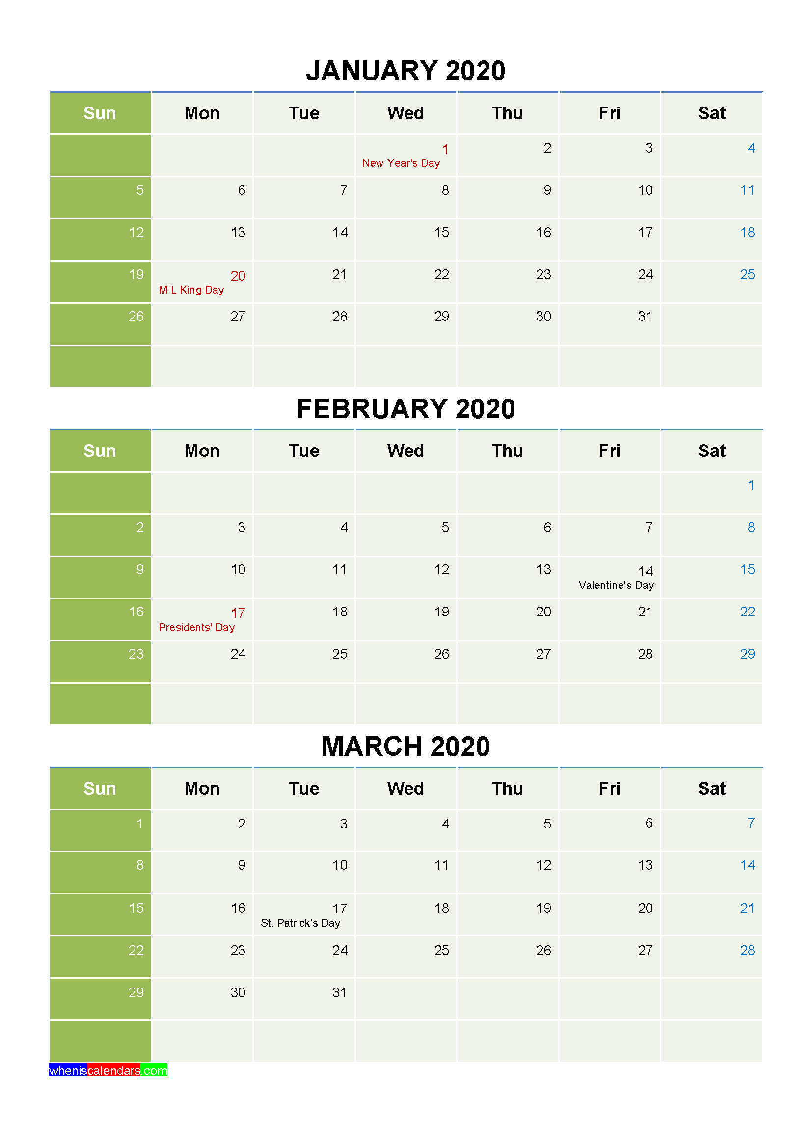 Free Calendar January February March 2020 with Holidays
