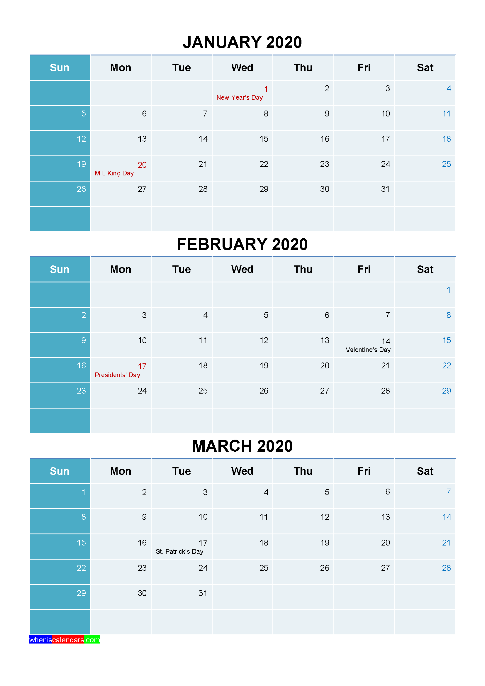 January February March 2020 Calendar with Holidays Printable