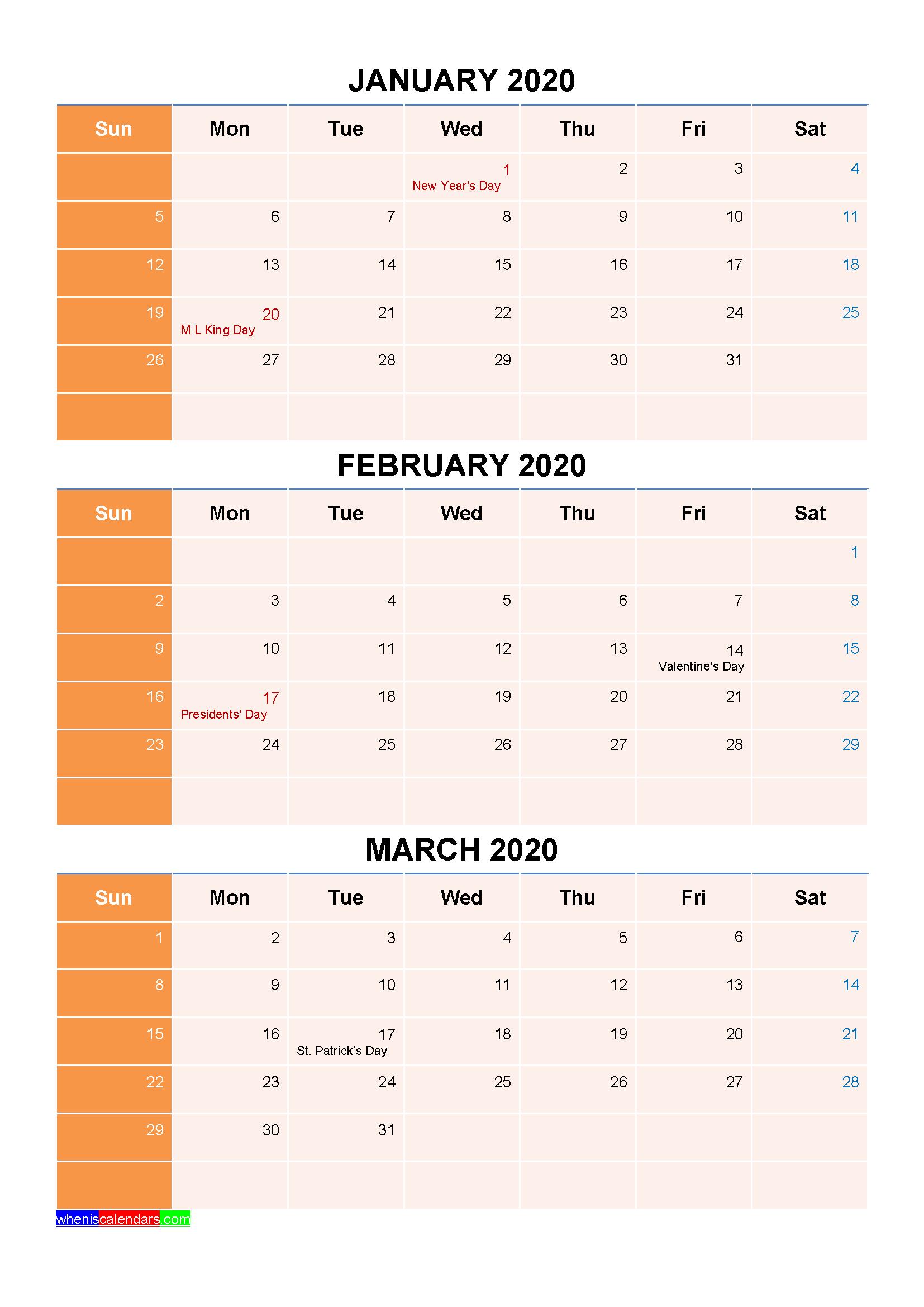 January February March 2020 Calendar with Holidays