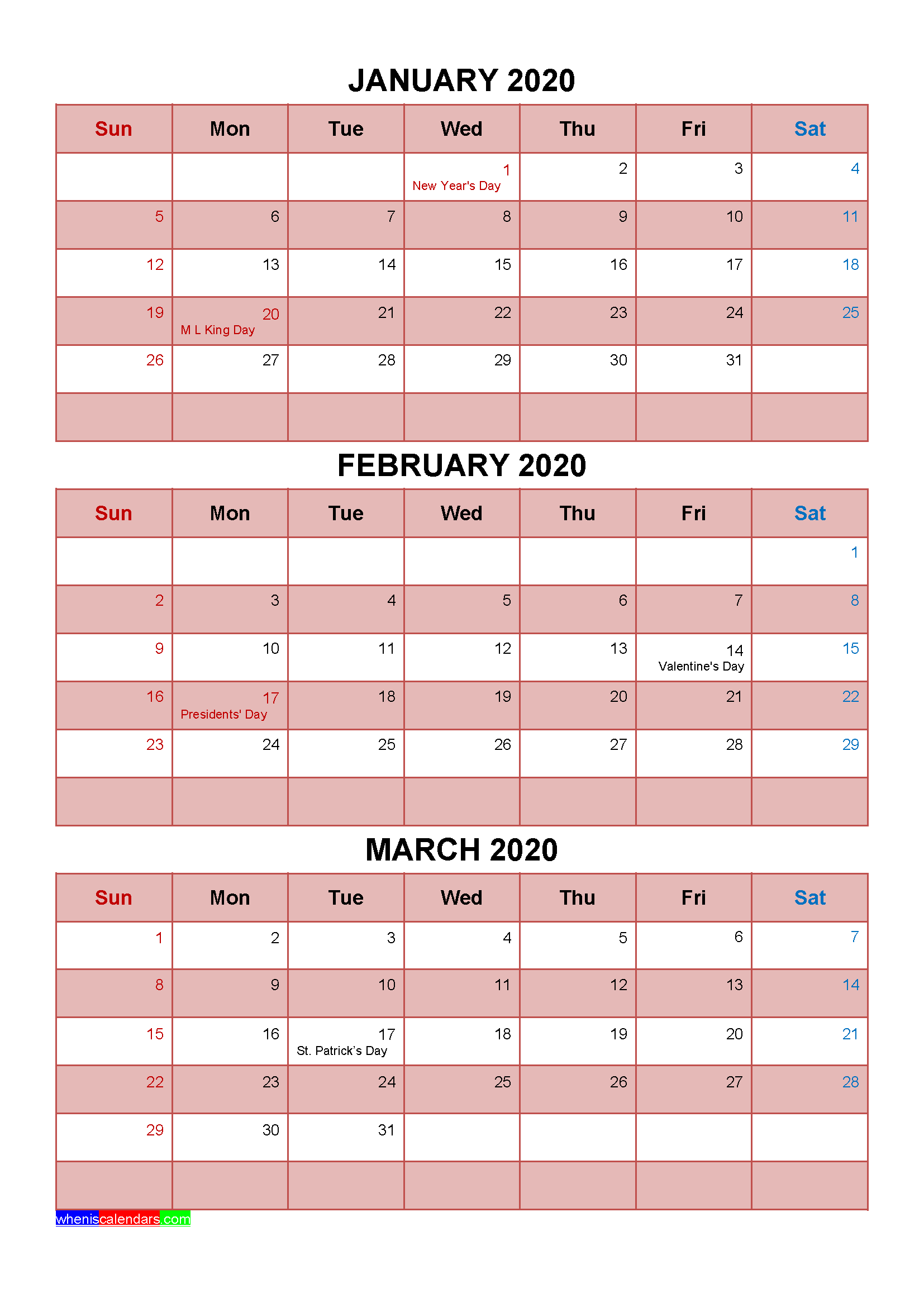 Printable January February March 2020 Calendar with Holidays
