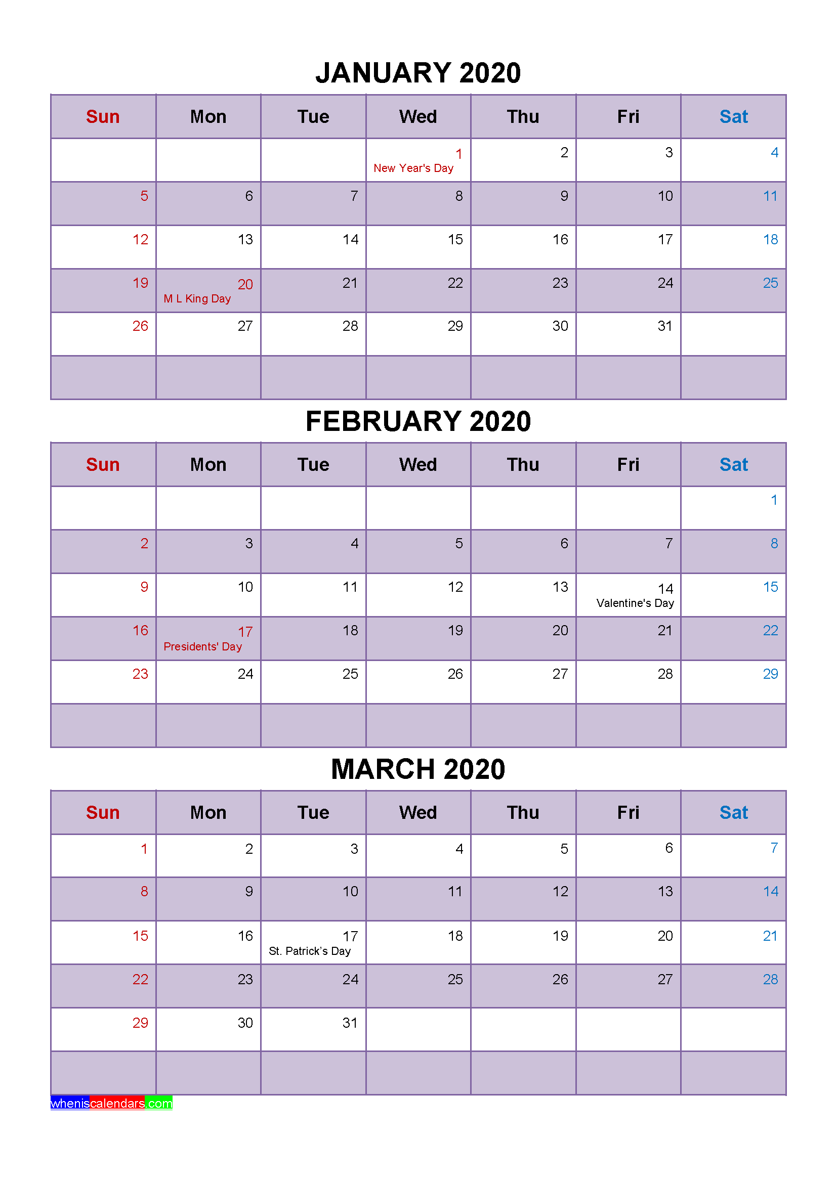 Free Printable January February March 2020 Calendar with Holidays as Word, PDF