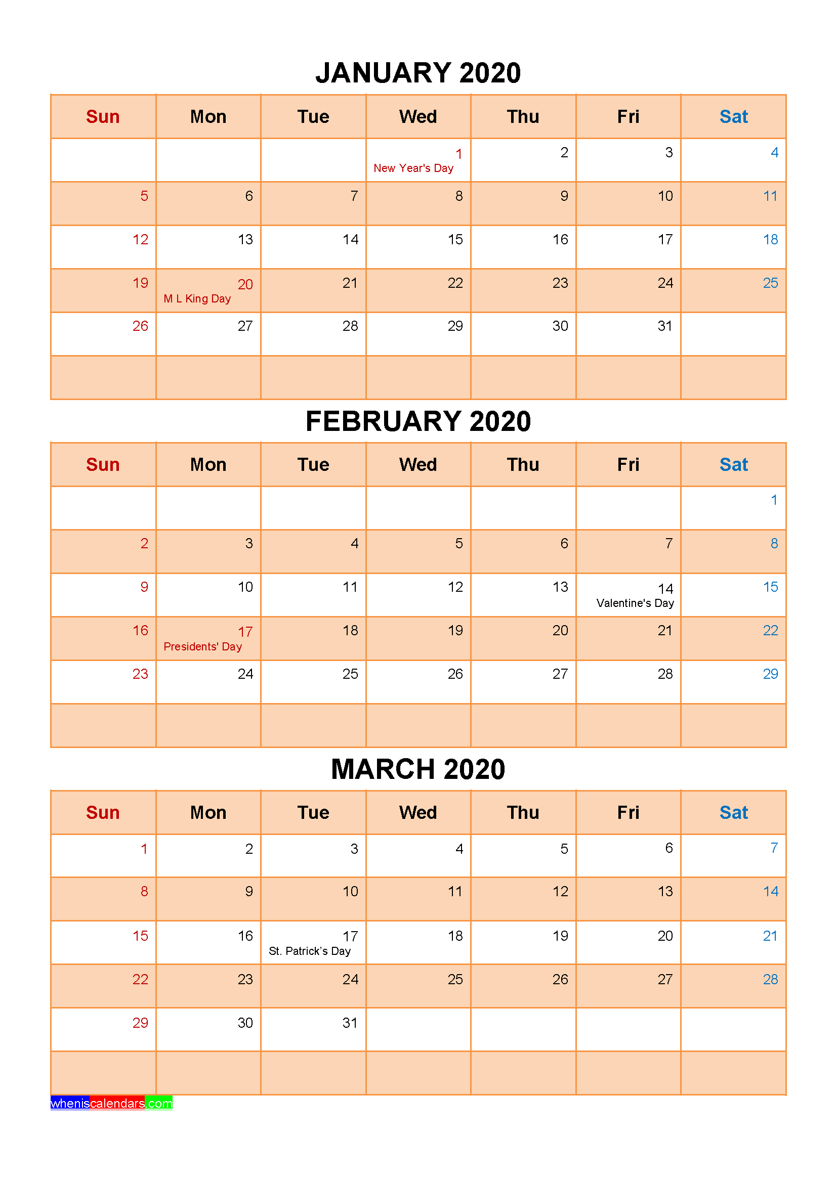 Printable January February March 2020 Calendar with Holidays